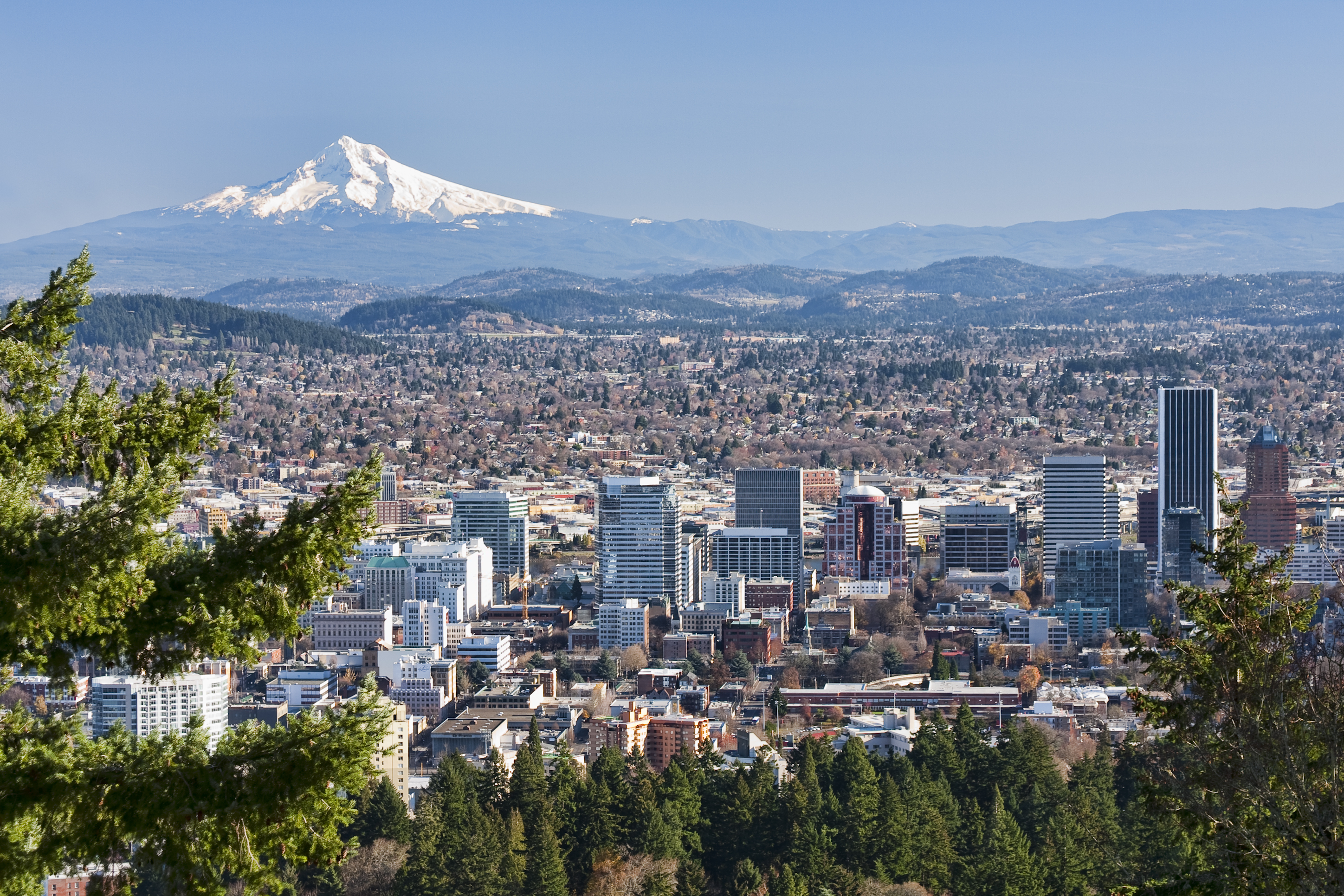 The skyline of Portland with Mt. Hood in the background
