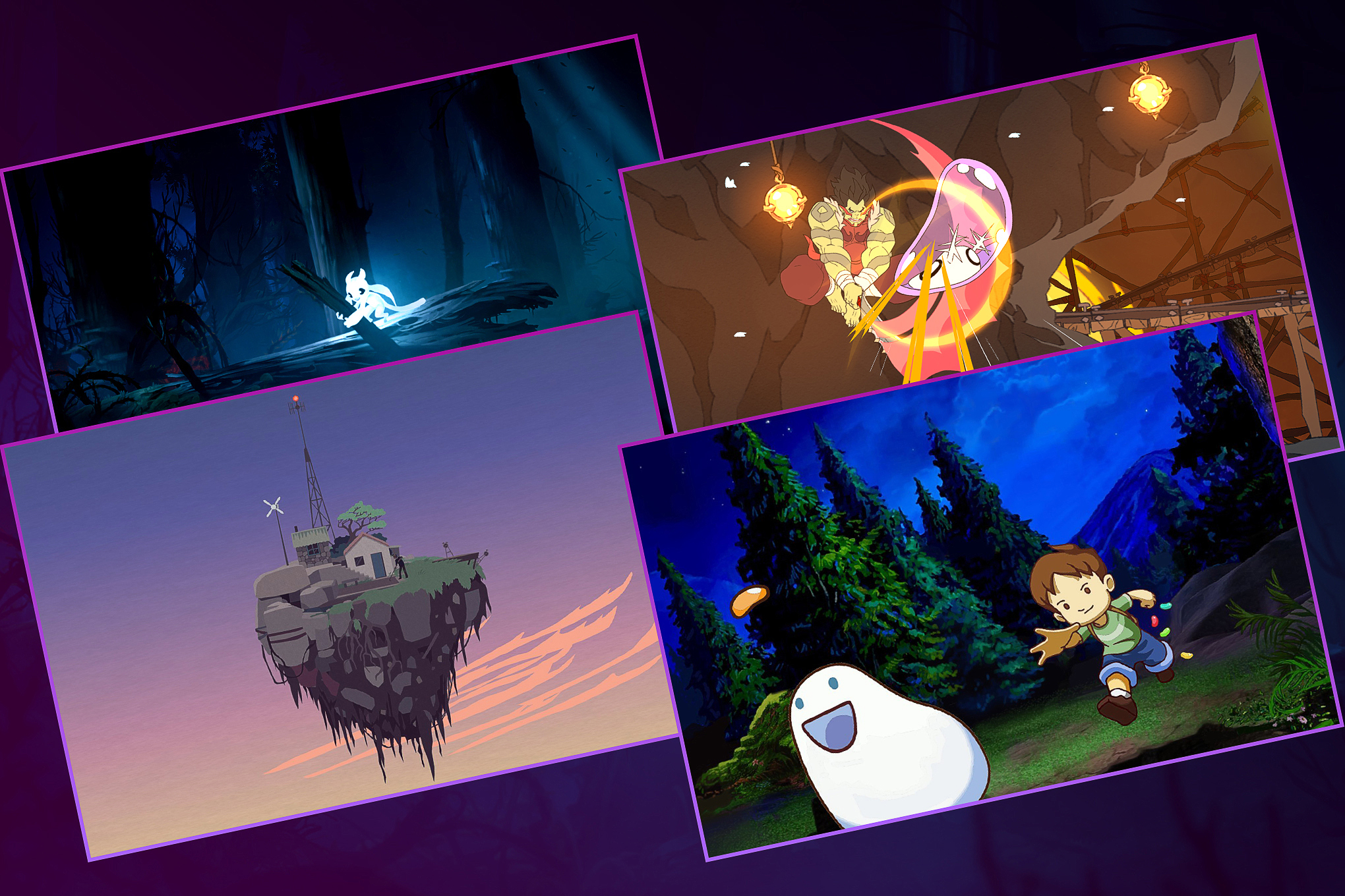A collection of images Ori and the Blind Forest, Battle Chef Brigade, Mutazione, and A Boy And His Blob (counter-clockwise).