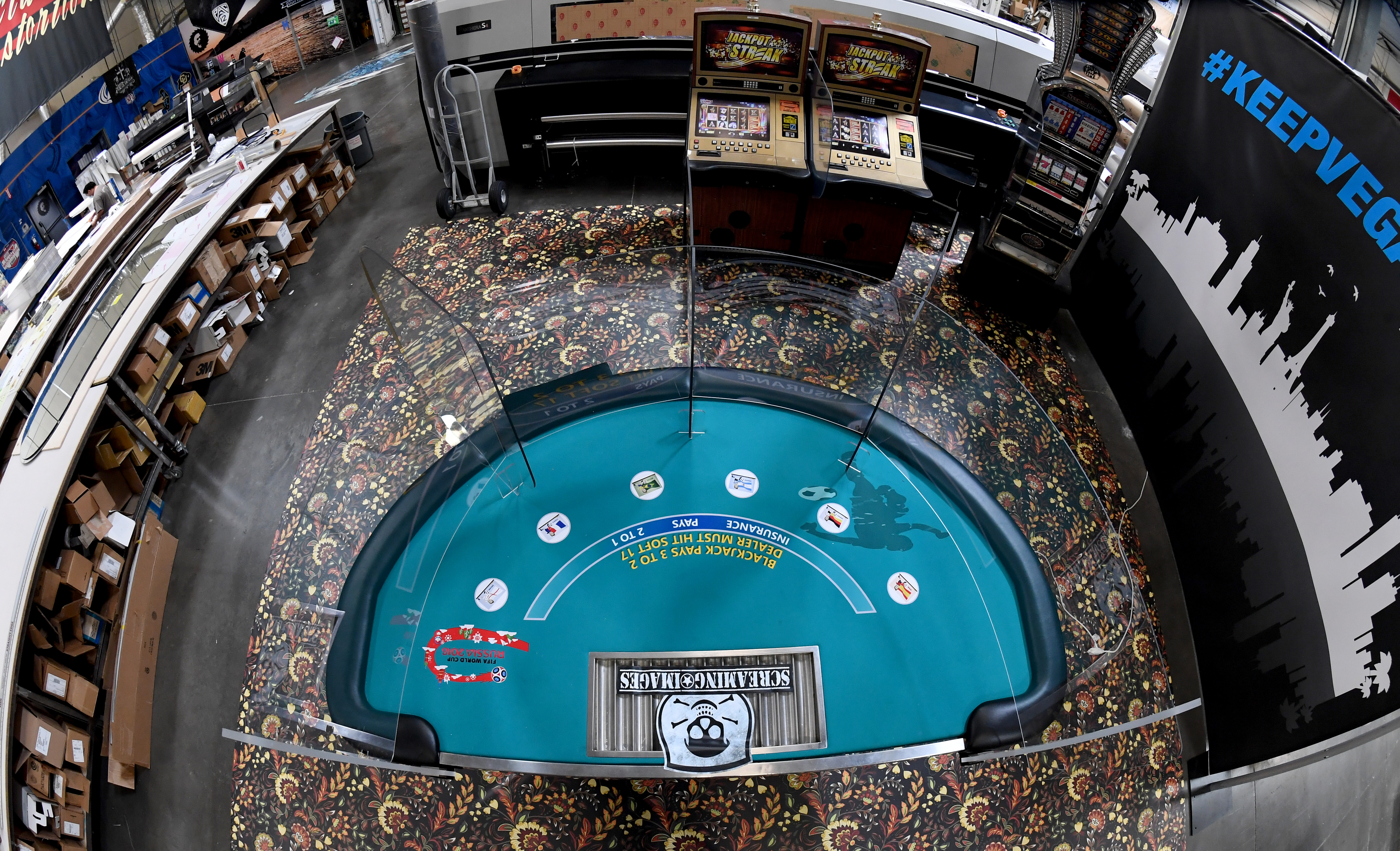 Las Vegas Company Makes Safety Shields For Casinos To Keep Gamblers Distanced Once Casinos Open Back Up