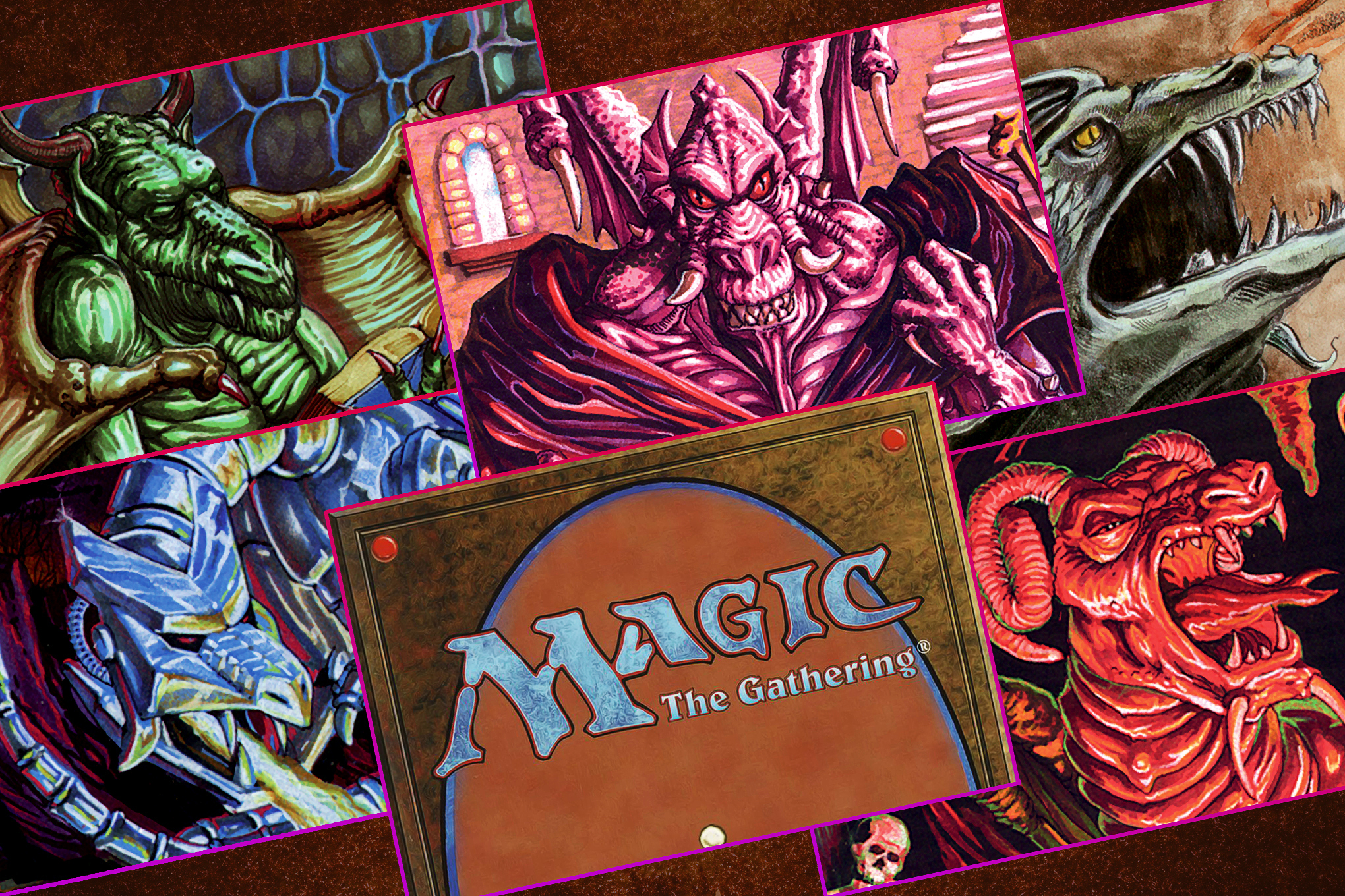 Graphic featuring five dragons from the board game Magic The Gathering