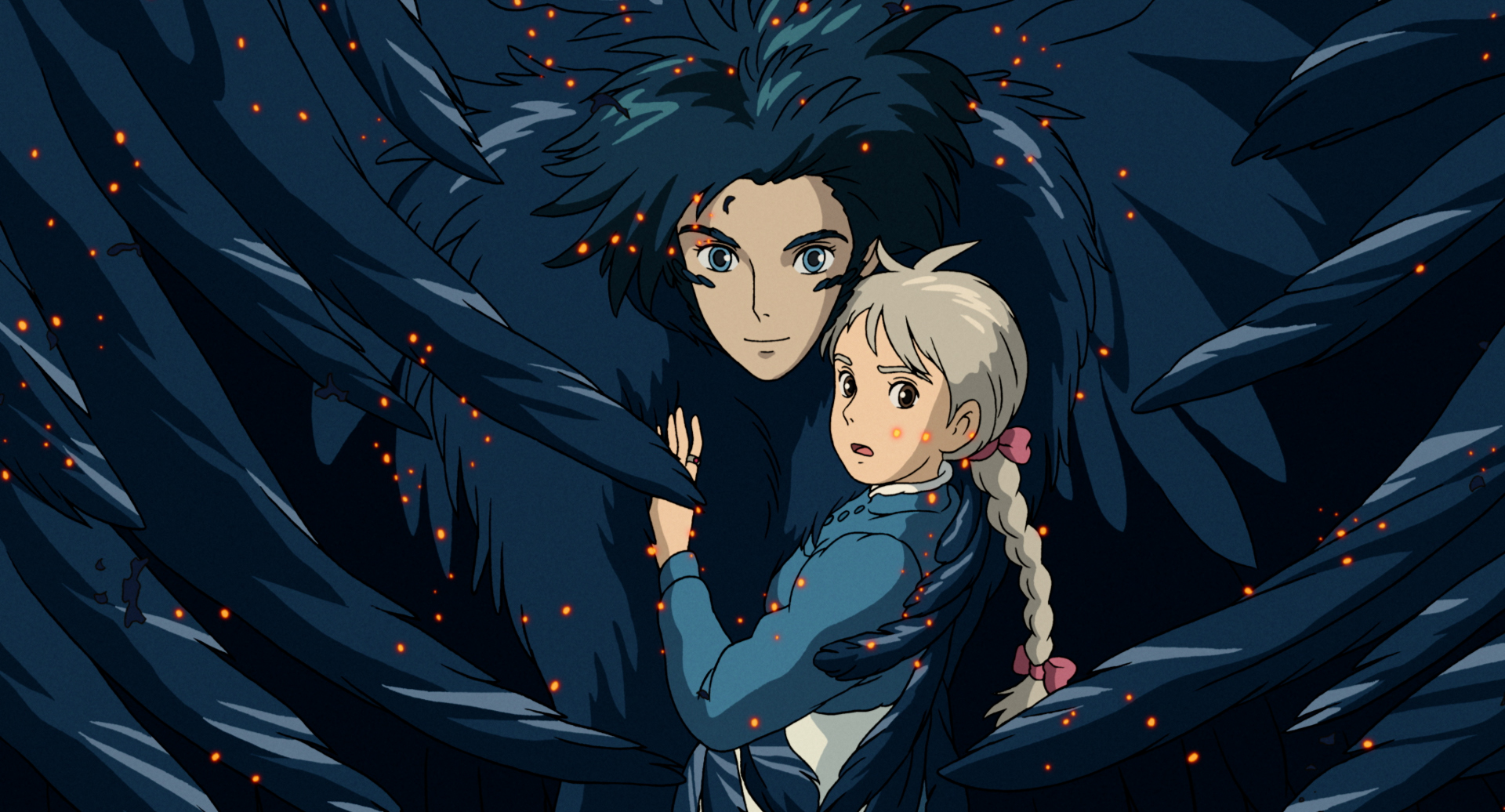 howl in his monstrous bird form, holding sophie