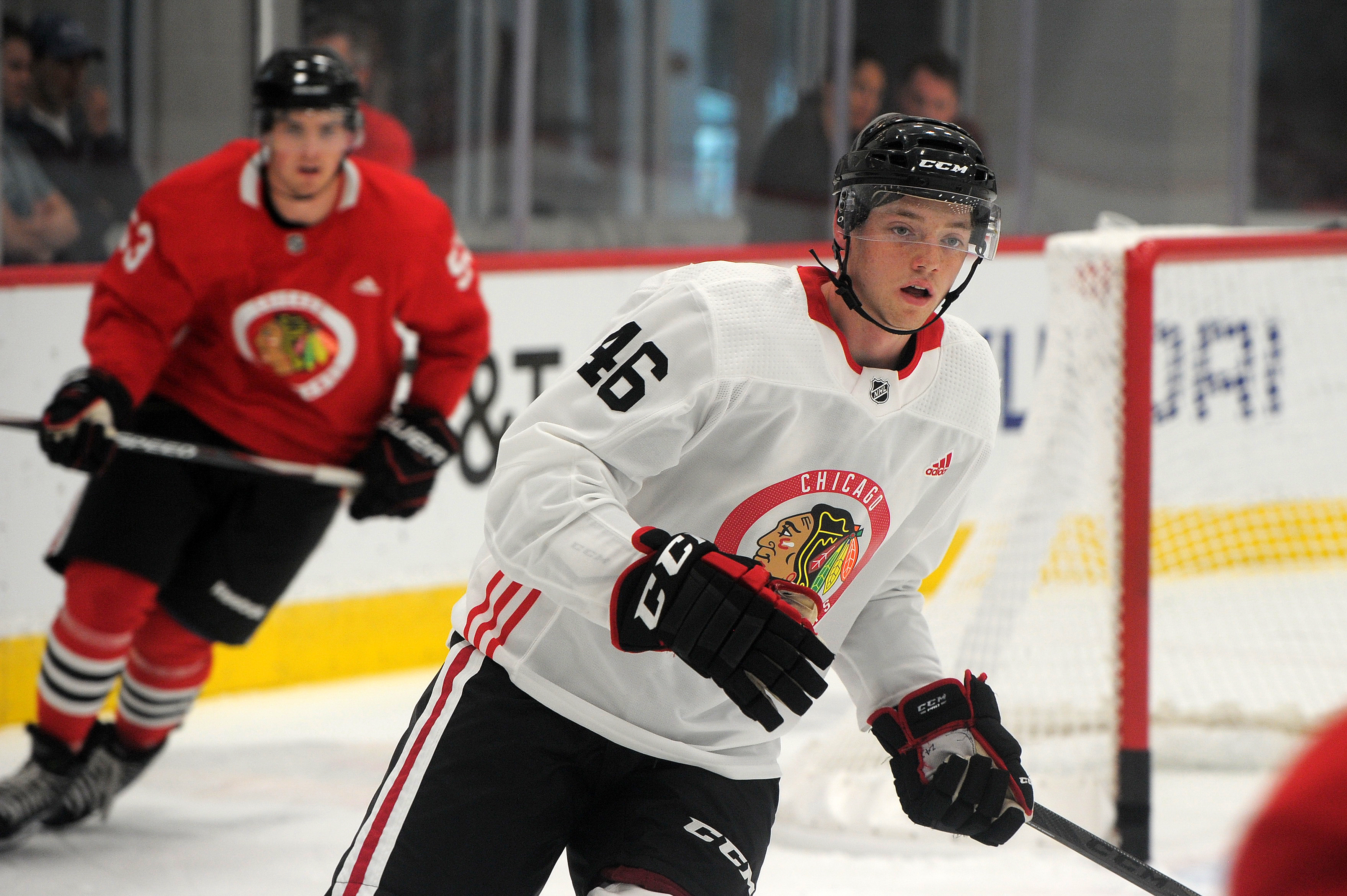 Ian Mitchell signed his entry-level contract April 11, but may or may not be able to play for the Blackhawks this summer.