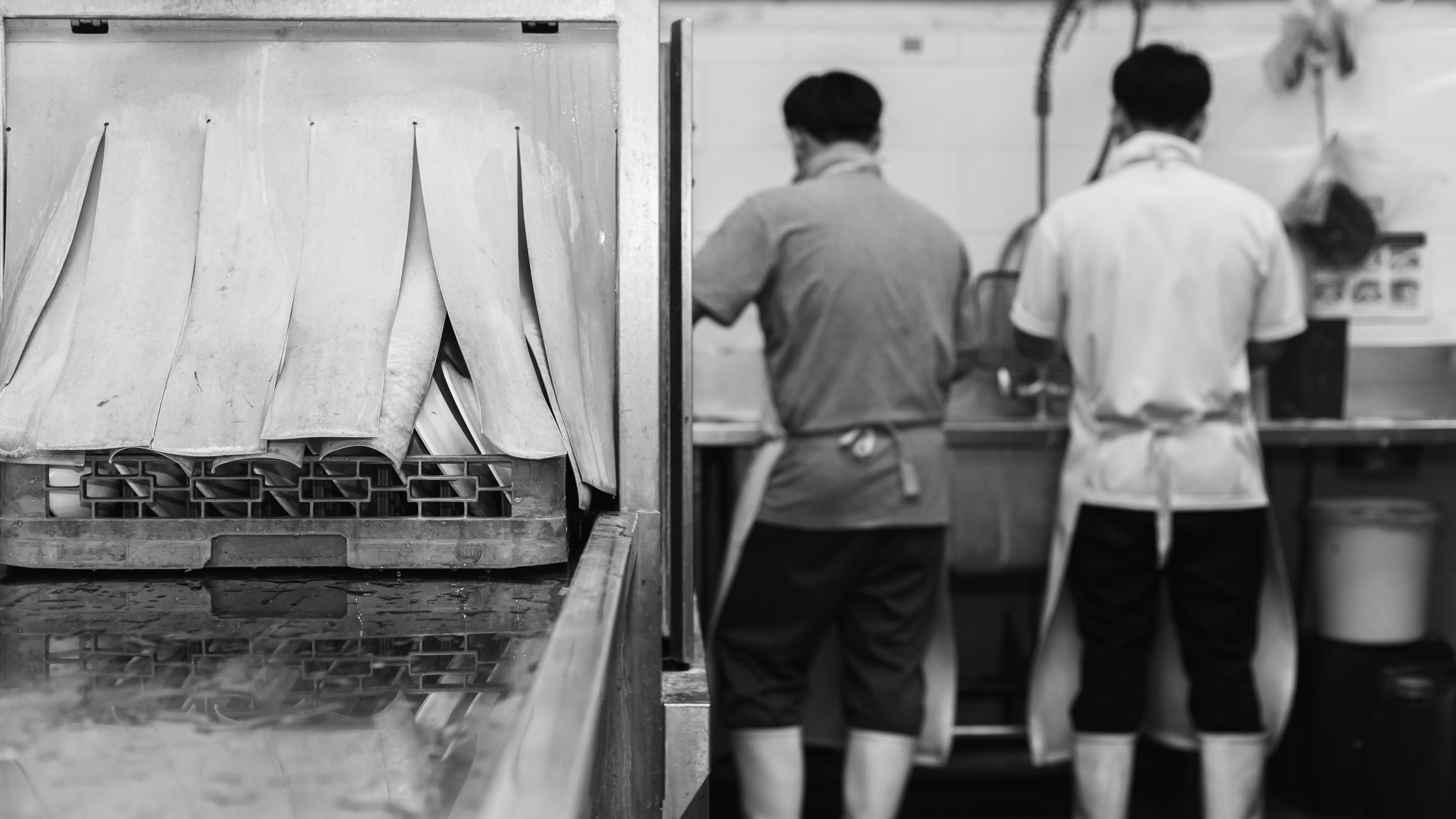 Two men standing in front of a restaurant dish pit, as seen from behind and in black and white.