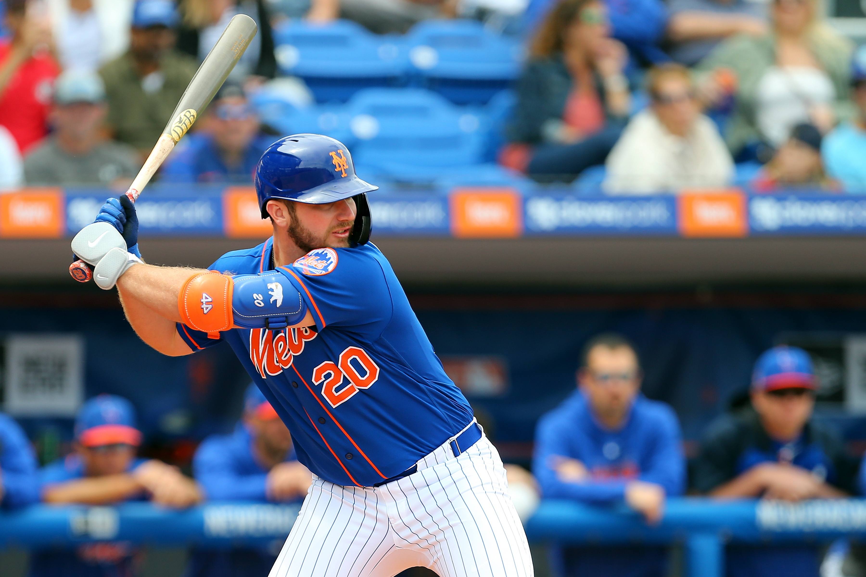 Pete Alonso #20 of the New York Mets in action against the Houston Astros during a spring training baseball game at Clover Park on March 8, 2020 in Port St. Lucie, Florida. The Mets defeated the Astros 3-1.