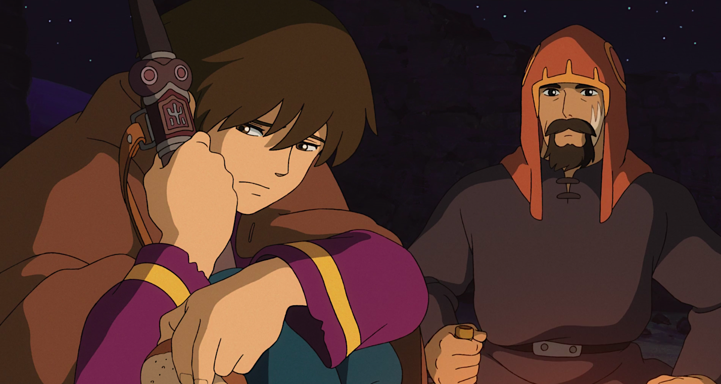 Arryn sits with Sparrowhawk, clutching the sword he took after murdering his father, in Tales From Earthsea