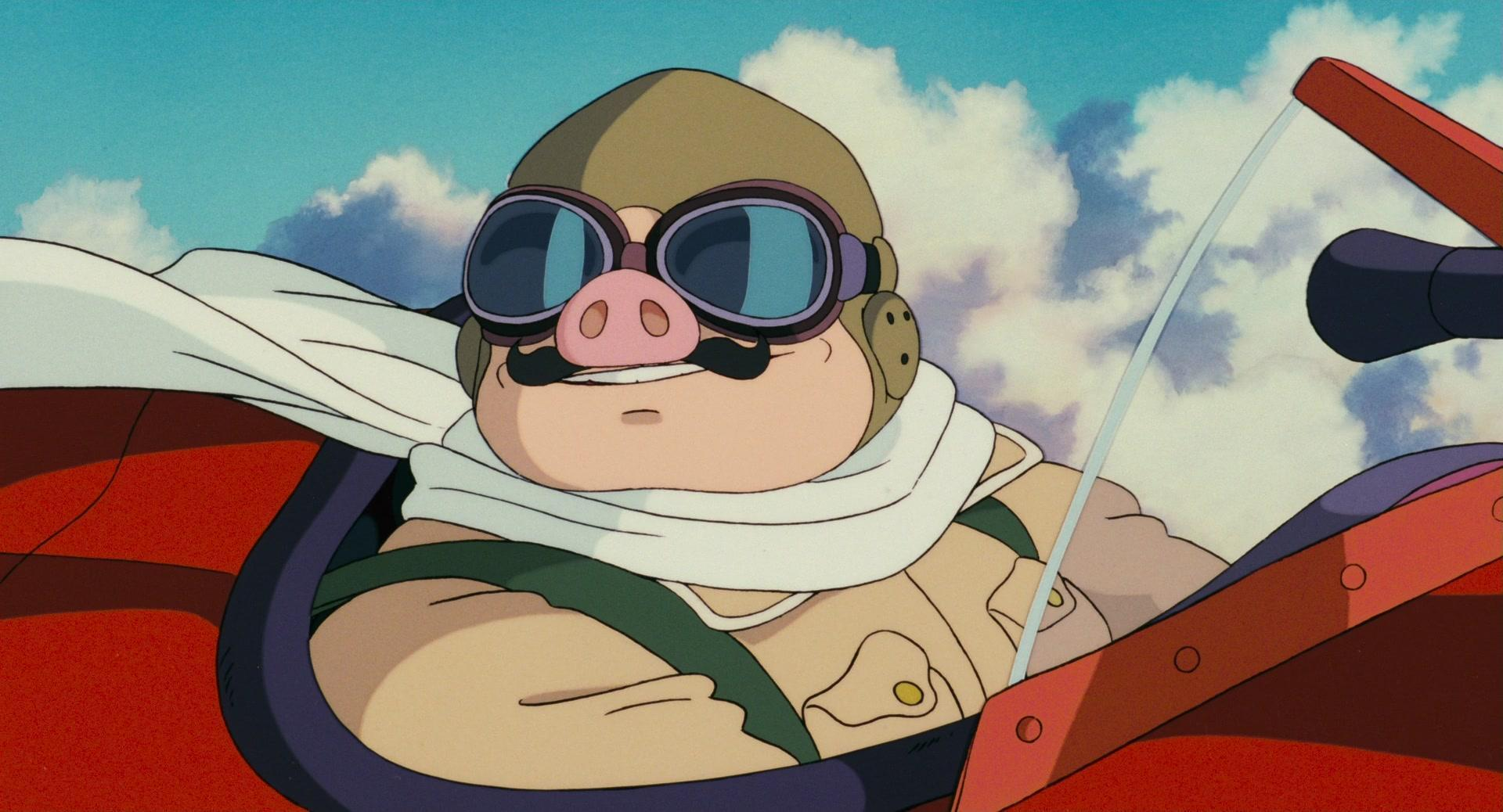 an anthropomorphic pig in a plane