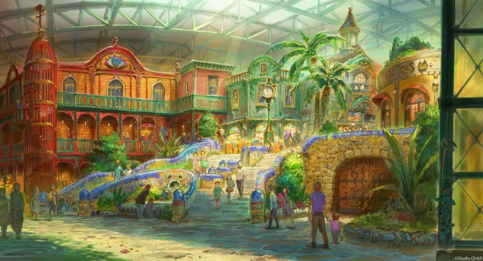 concept art of an unspecified area of Ghibli Park