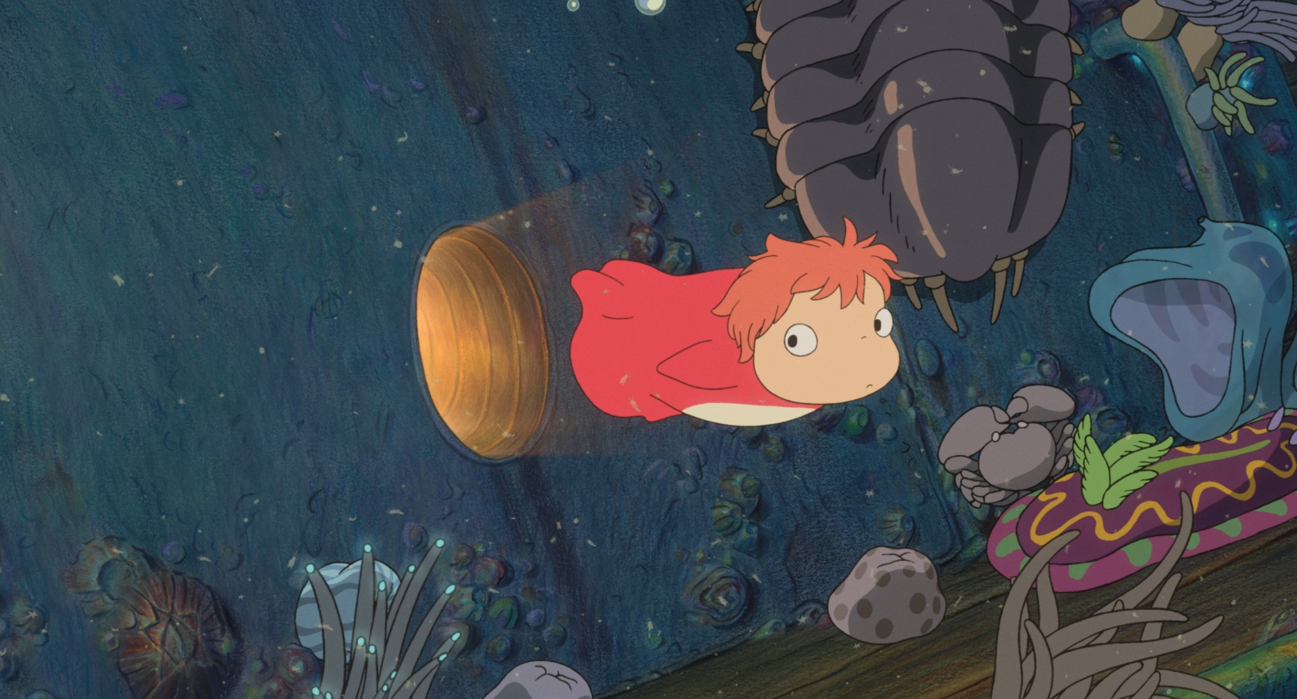 ponyo swims out of her ship