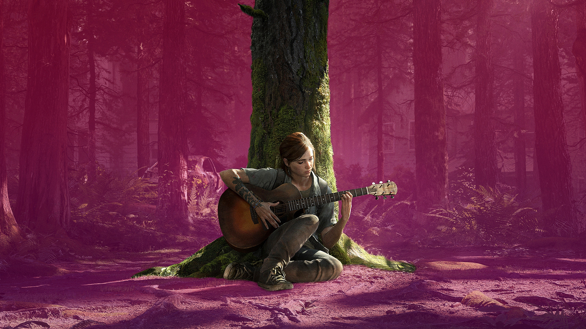 Young woman plays guitar leaning against a tree in an overgrown forest