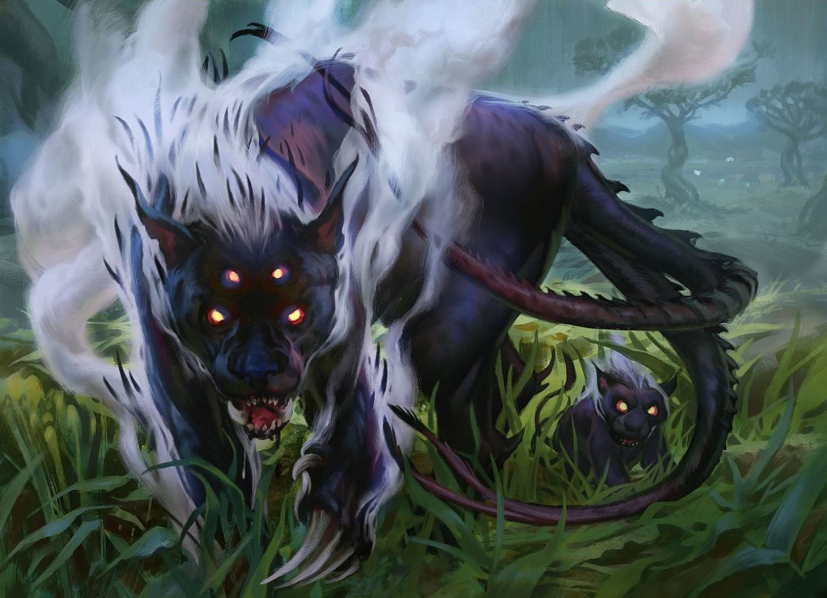 A multi-eyed hell hound is the key art for Magic's Lurrus companion card.
