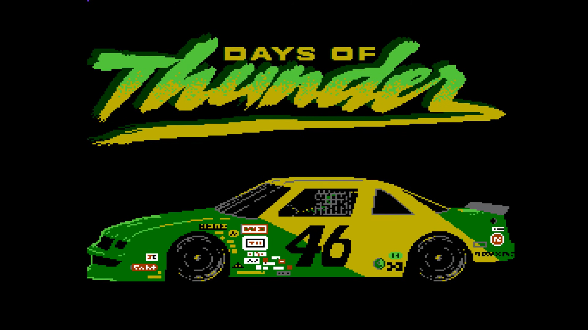 title screen for days of thunder, a never-before-seen NES game