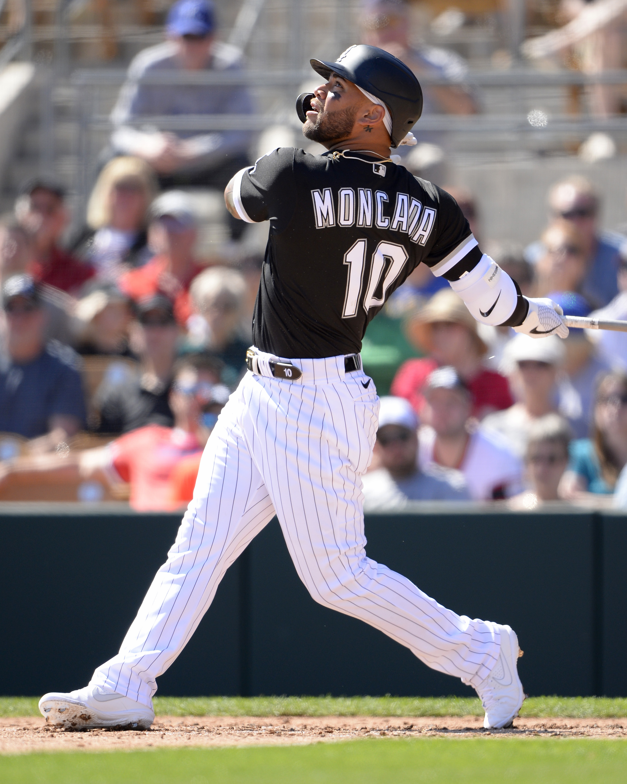 Yoan Moncada #10 of the Chicago White Sox bats against the Kansas City Royals on March 8, 2020 at Camelback Ranch in Glendale Arizona.