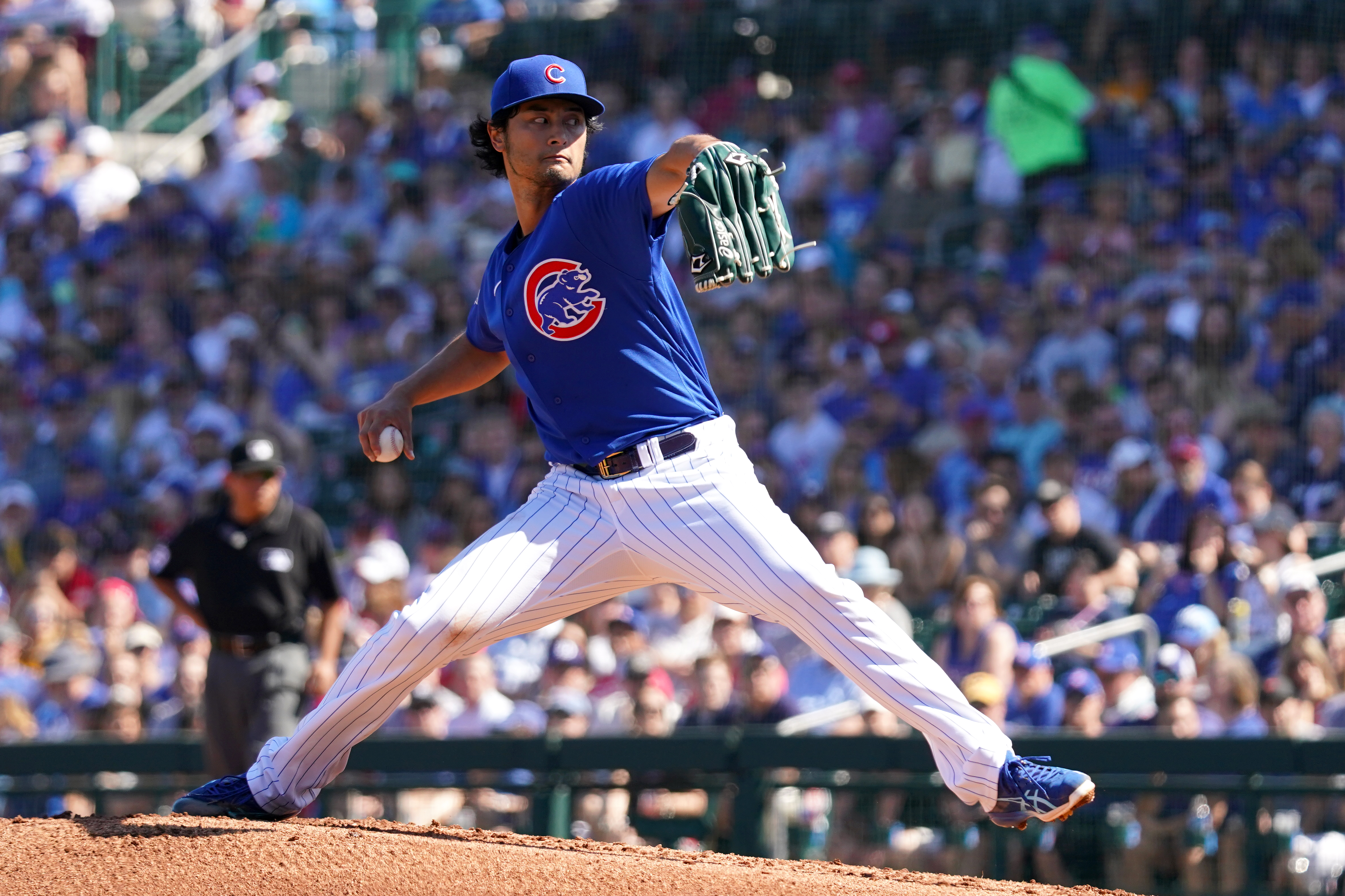 Yu Darvish of the Chicago Cubs pitches during a spring training game against the Milwaukee Brewers on February 29, 2020 in Mesa, Arizona.