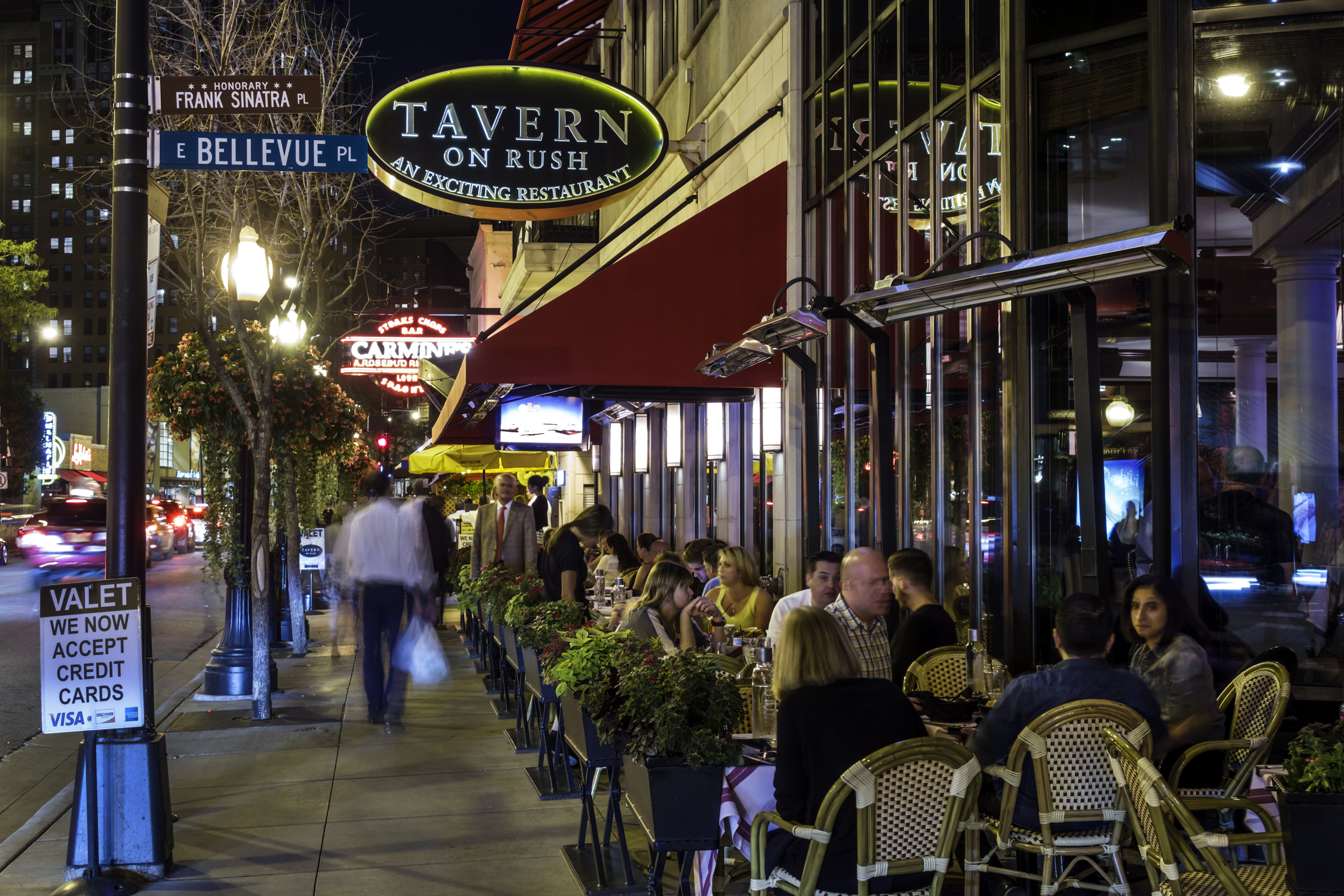 Tavern On Rush restaurant at night in the Gold Coast Historic District.