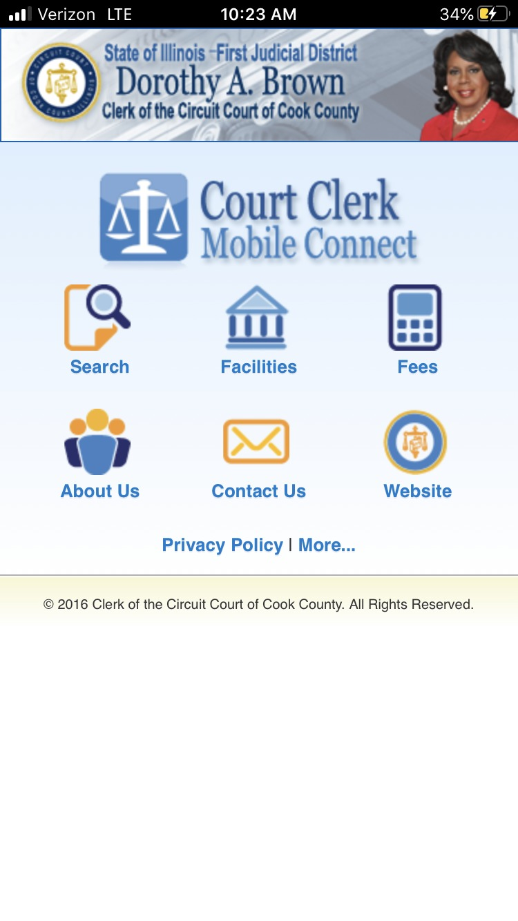 A screenshot of the Cook County Clerk of the Circuit Court's mobile app.