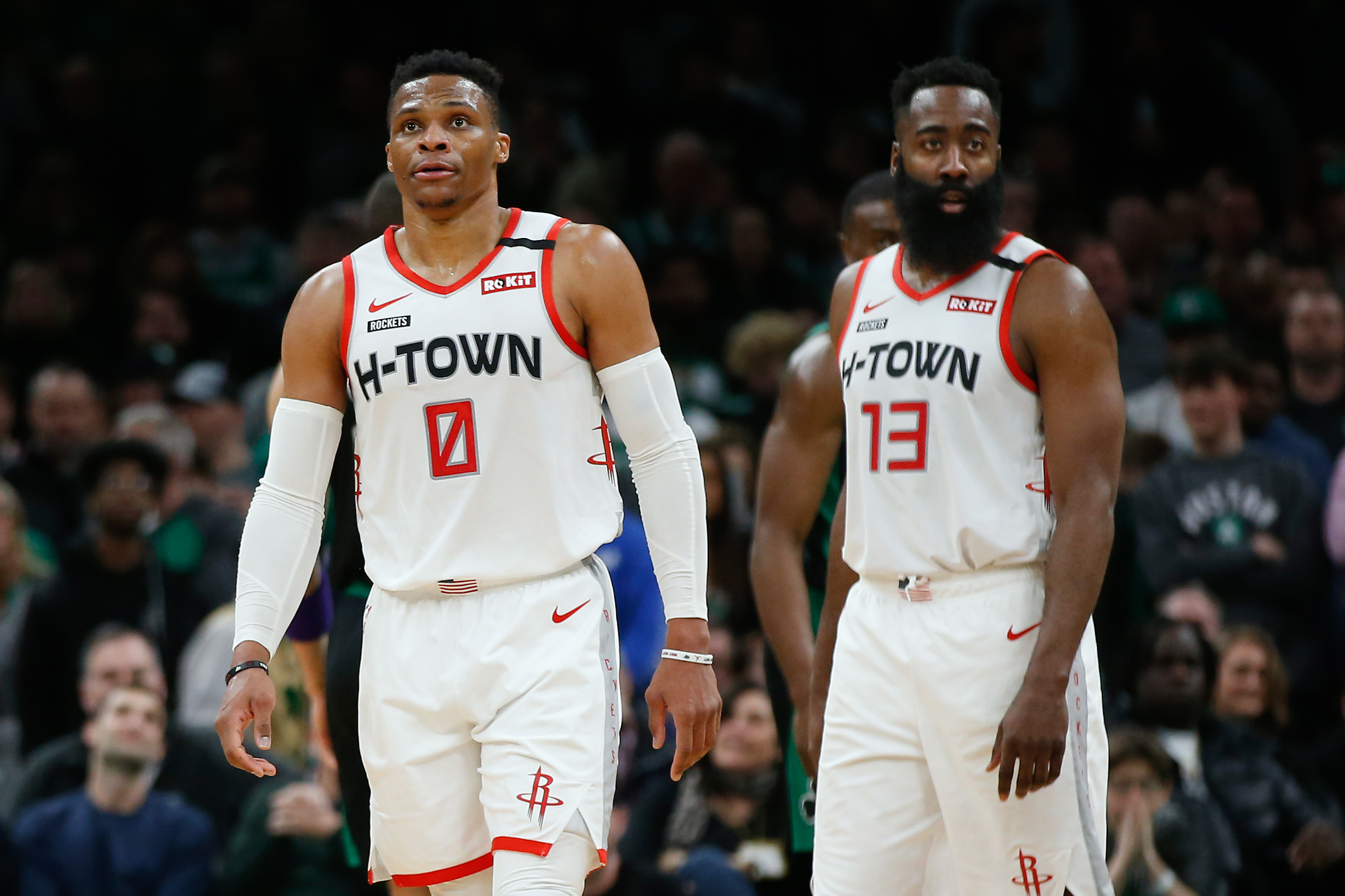 Houston Rockets guard Russell Westbrook and guard James Harden during the second half against the Boston Celtics at TD Garden.