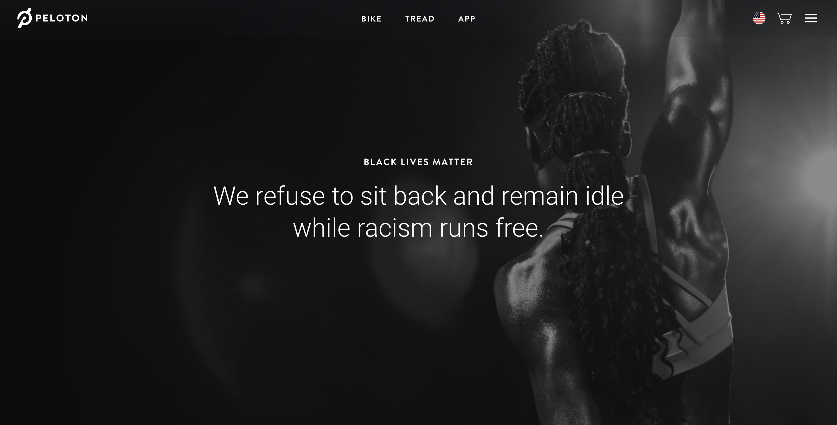 A screenshot of Peloton's website.