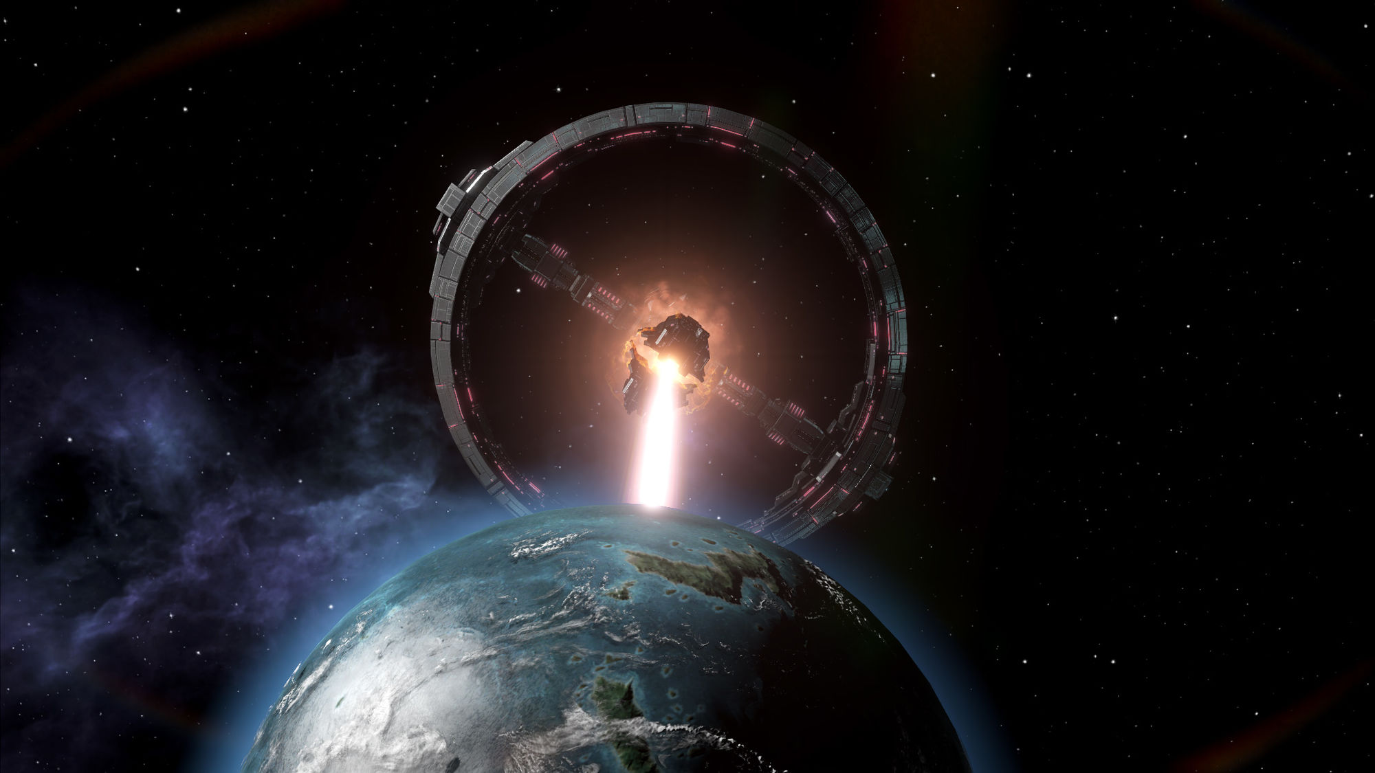 An earthlike world under fire from a death star-like weapons platform called a colossus.