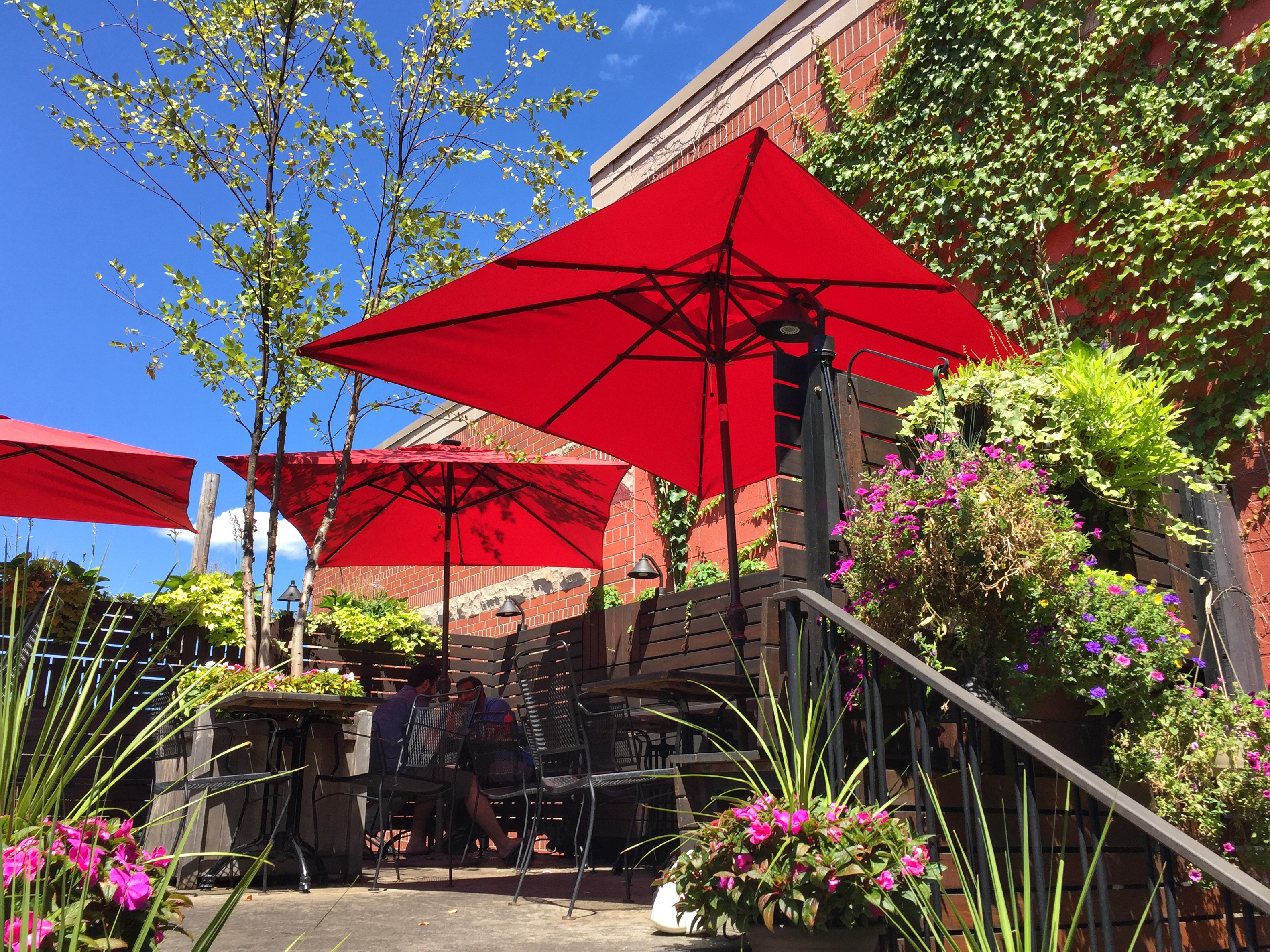 A restaurant patio is bedecked with red umbrellas and greenery.