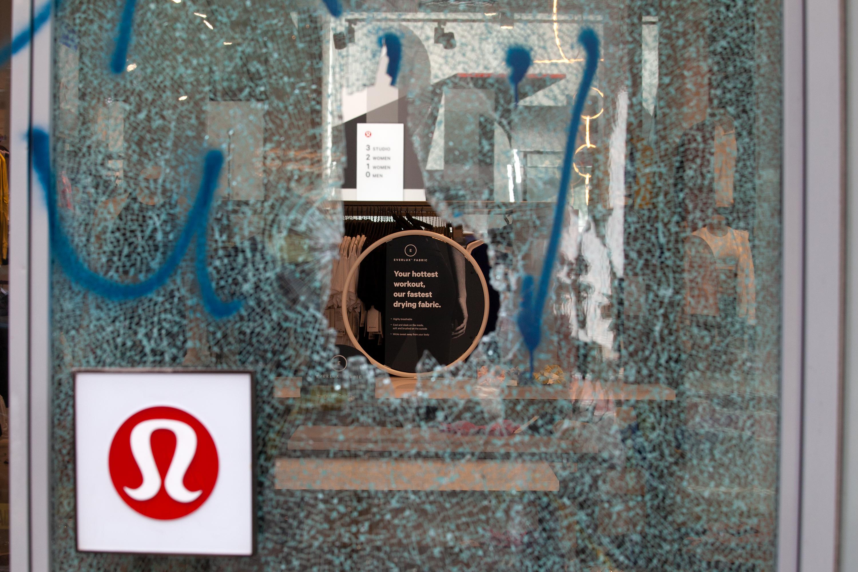 Lululemon's SoHo store was damaged during protest.