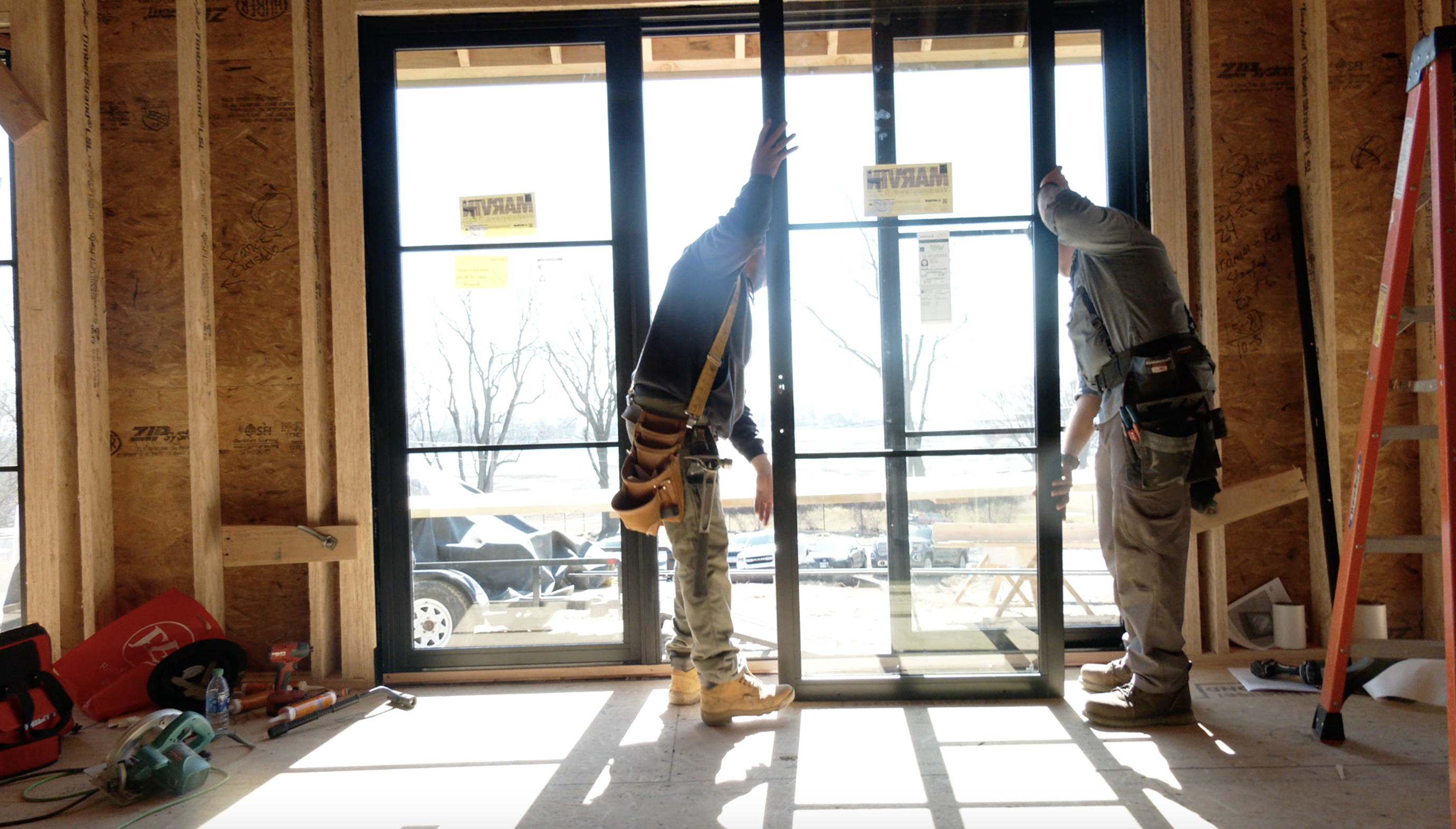 Installing windows at the idea house