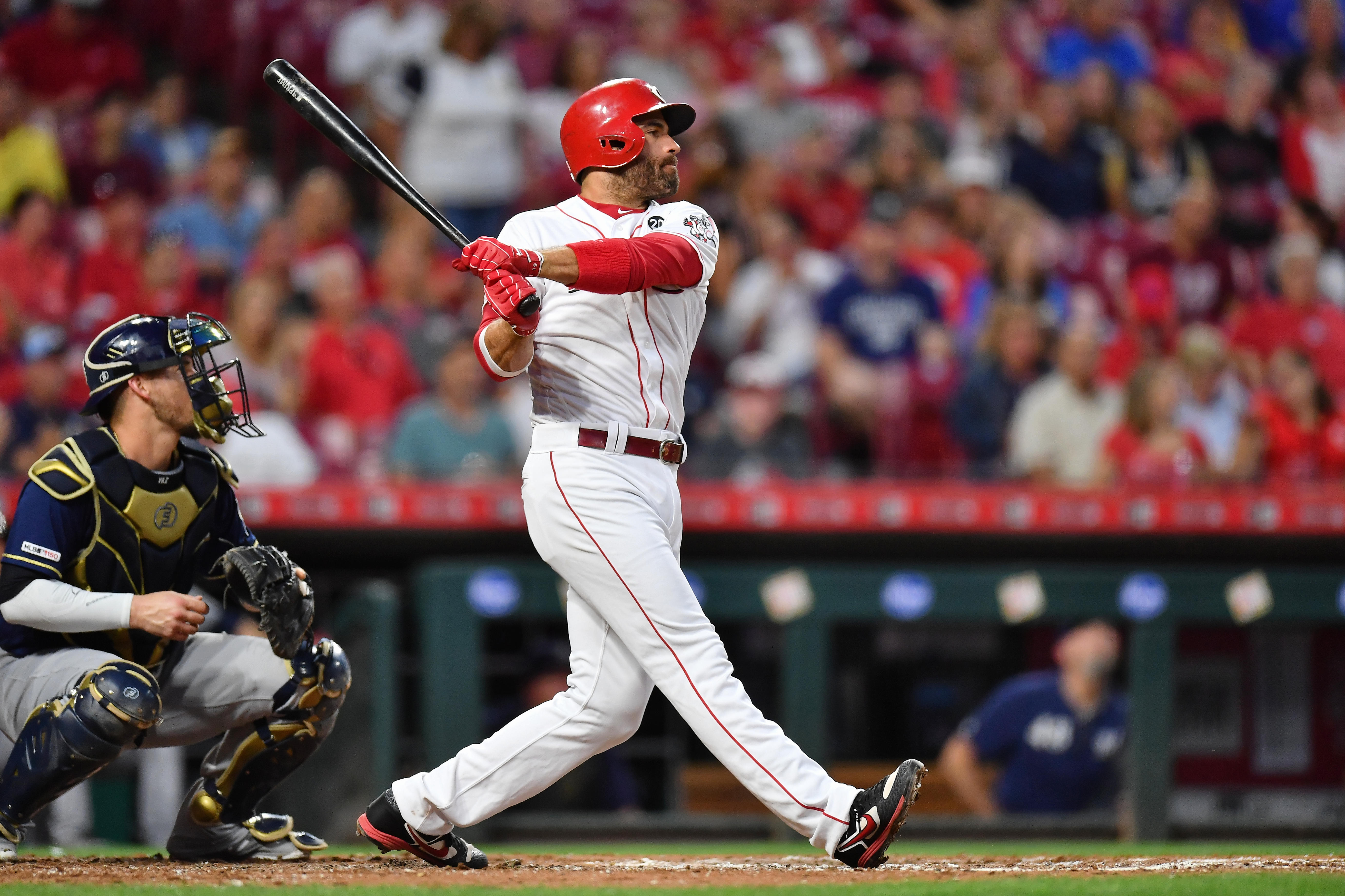 Joey Votto #19 of the Cincinnati Reds bats against the Milwaukee Brewers at Great American Ball Park on September 24, 2019 in Cincinnati, Ohio.