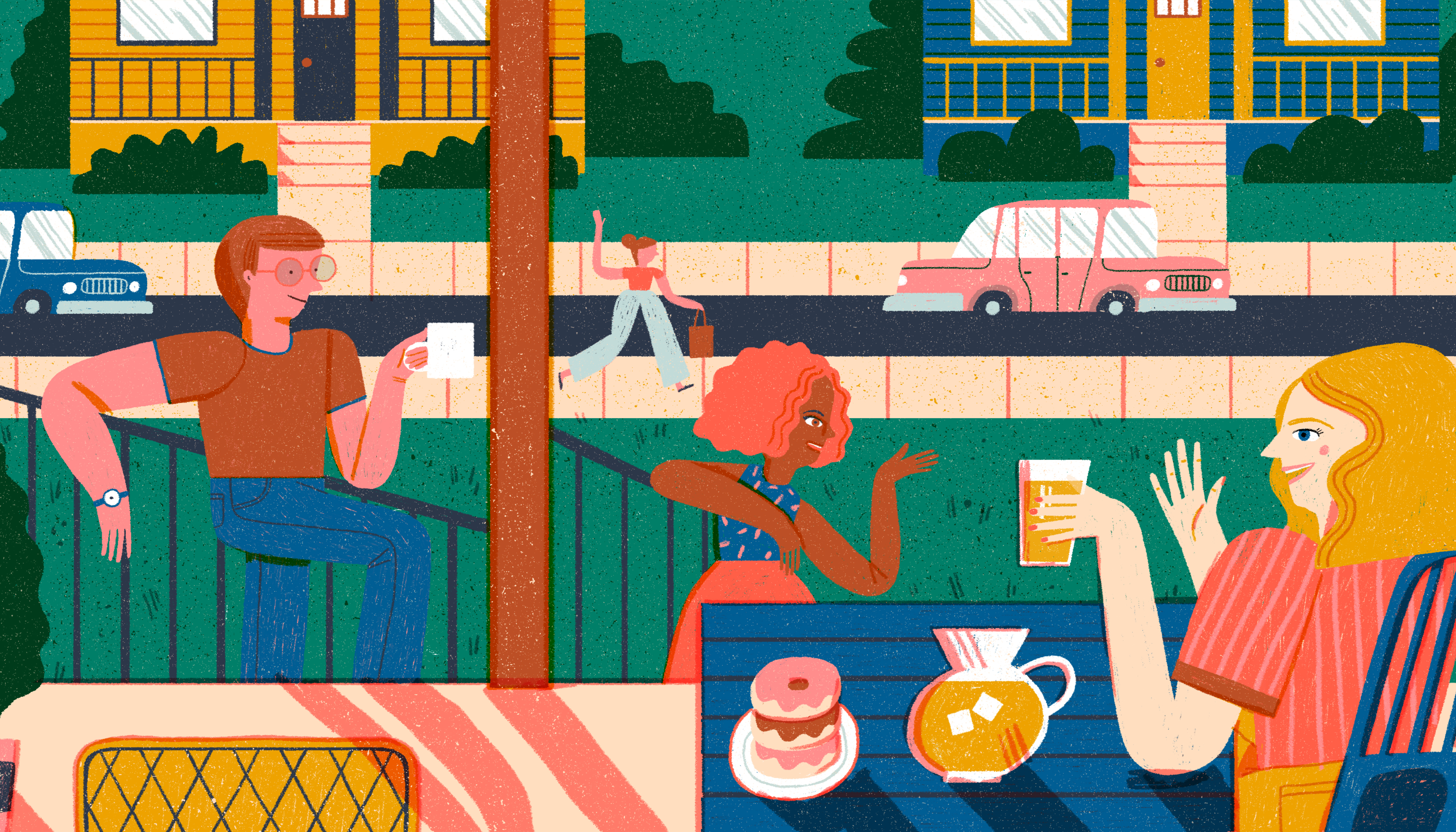 A view from a porch looking onto a neighborhood street. A woman sitting on the porch at a blue table waves with a cup of lemonade in her hand and sweet treats on the table in front of her. Two neighbors casually lean on the stairs of the porch chatting with her. A person across the street is waving. Illustration.