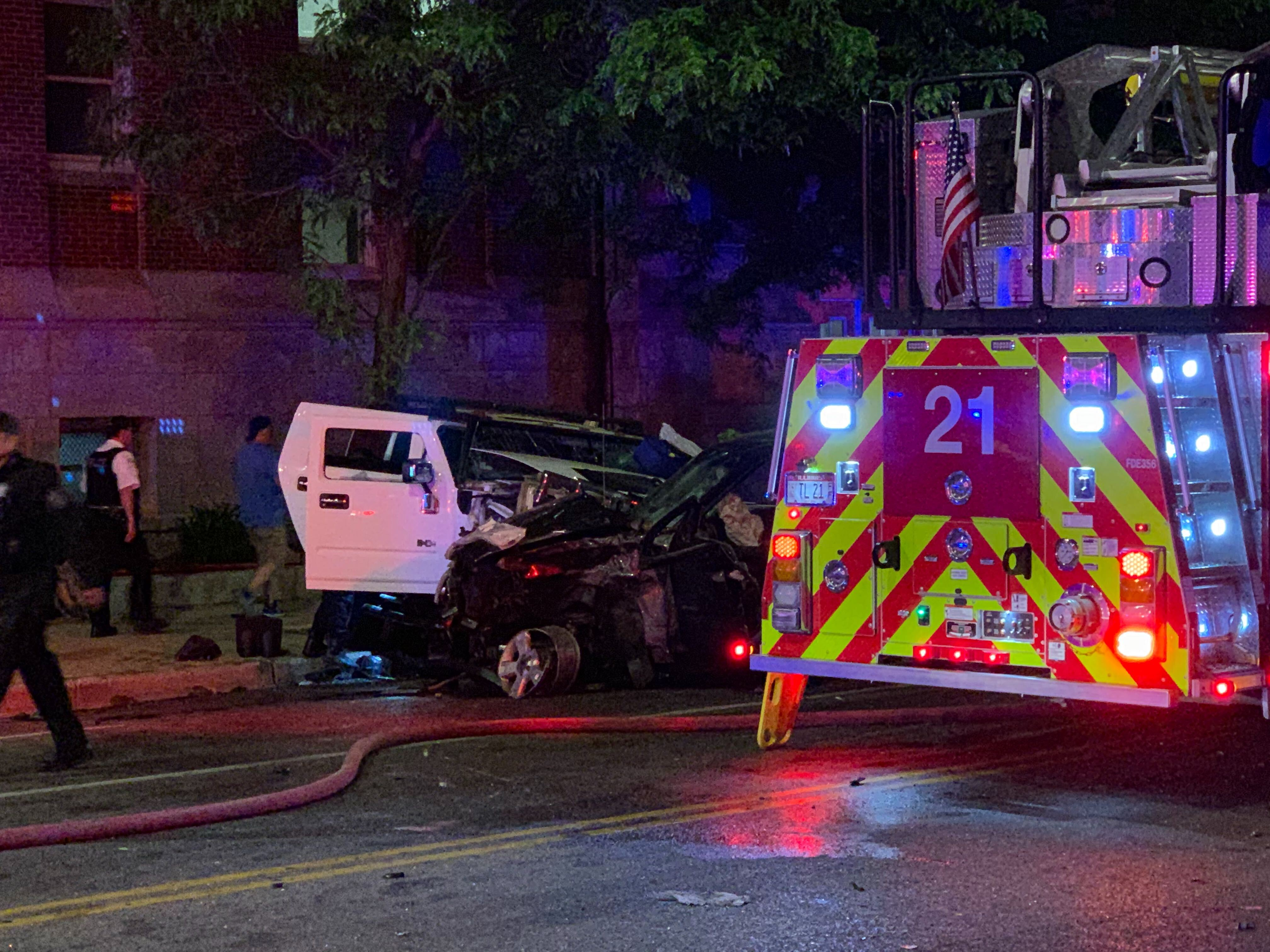 The partial wreckage of a crash that left one person dead and five more injured June 3, 2020, near Irving Park Road and Ashland Avenue.