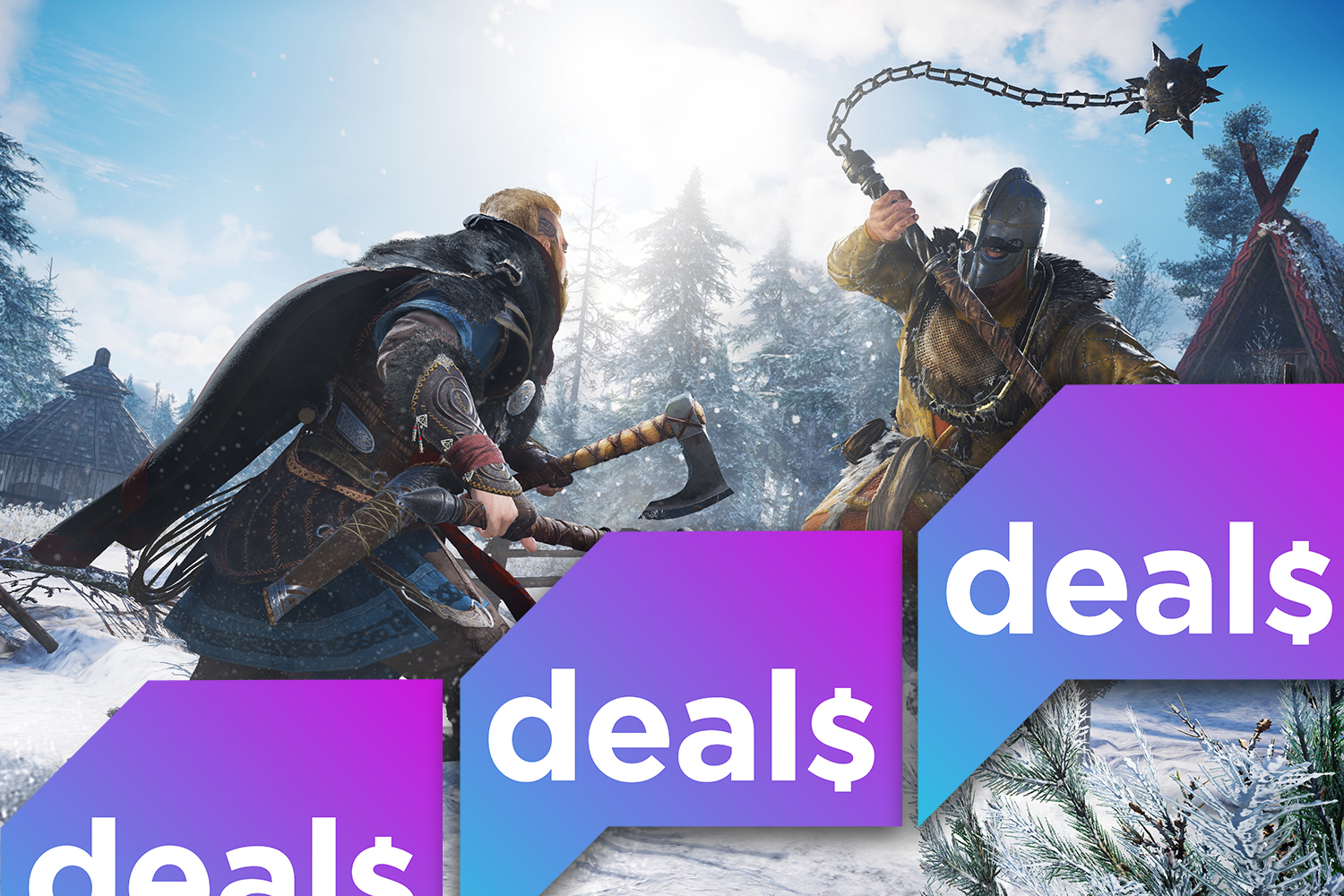 A screenshot from Assassin's Creed Valhalla overlaid with the Polygon Deals logo