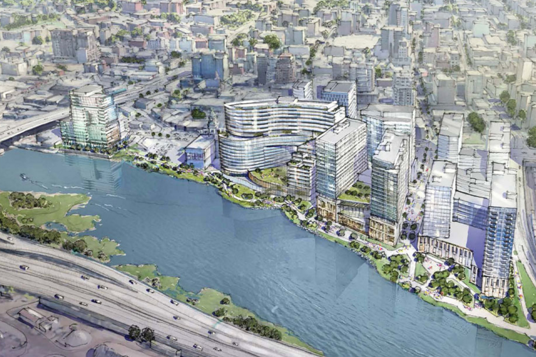 An illustration of the city's proposed Flushing Waterfront Revitalization project.