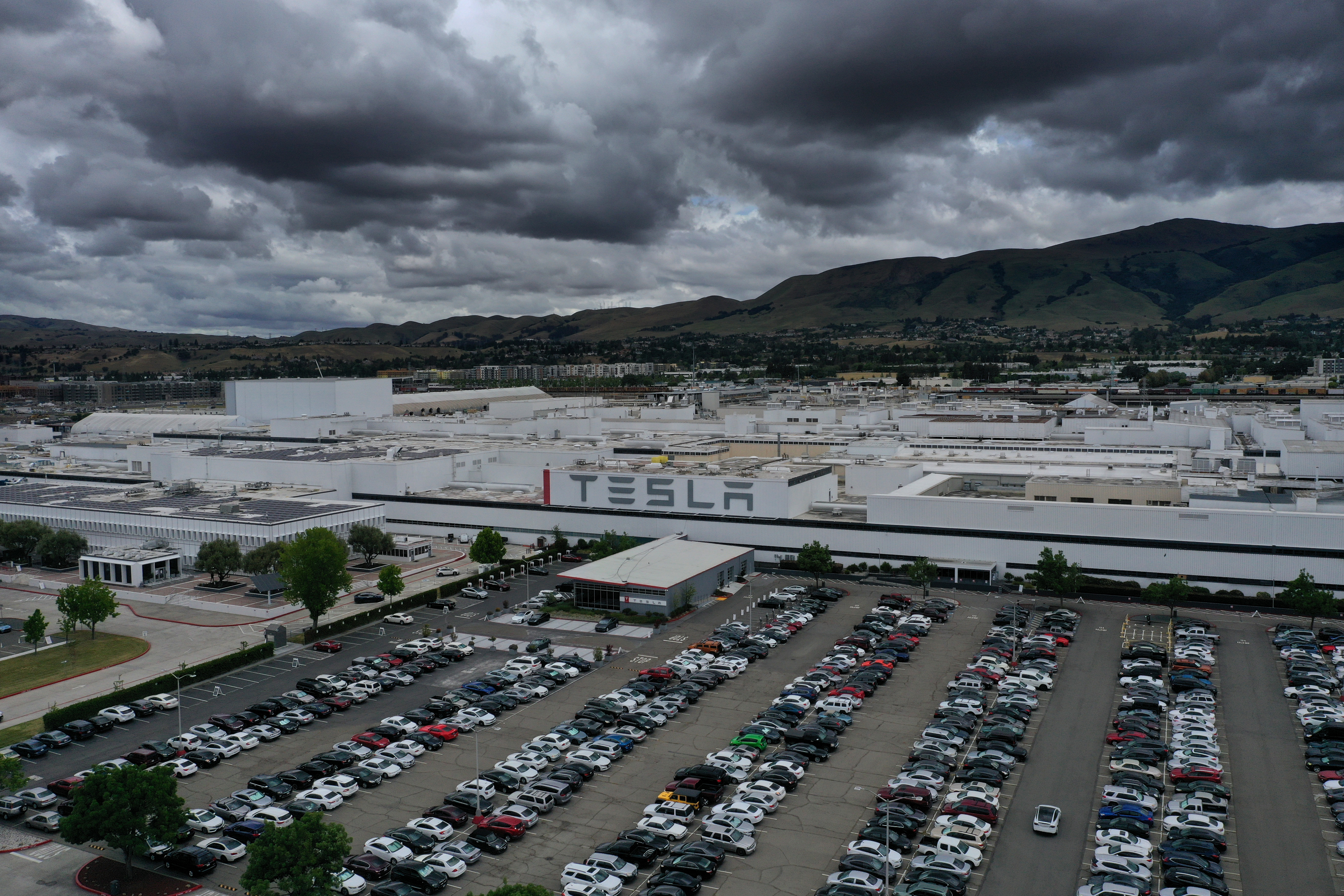 The Tesla factory in Fremont, California.