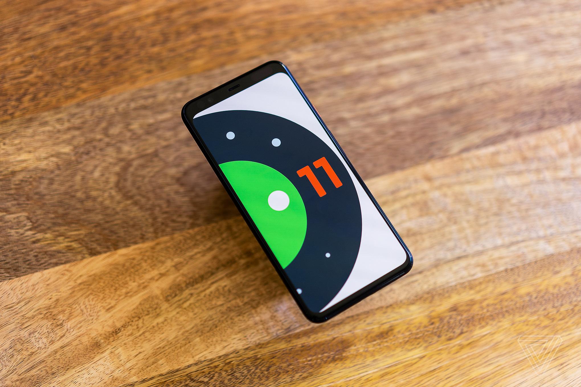 Phone displaying Android 11 Beta