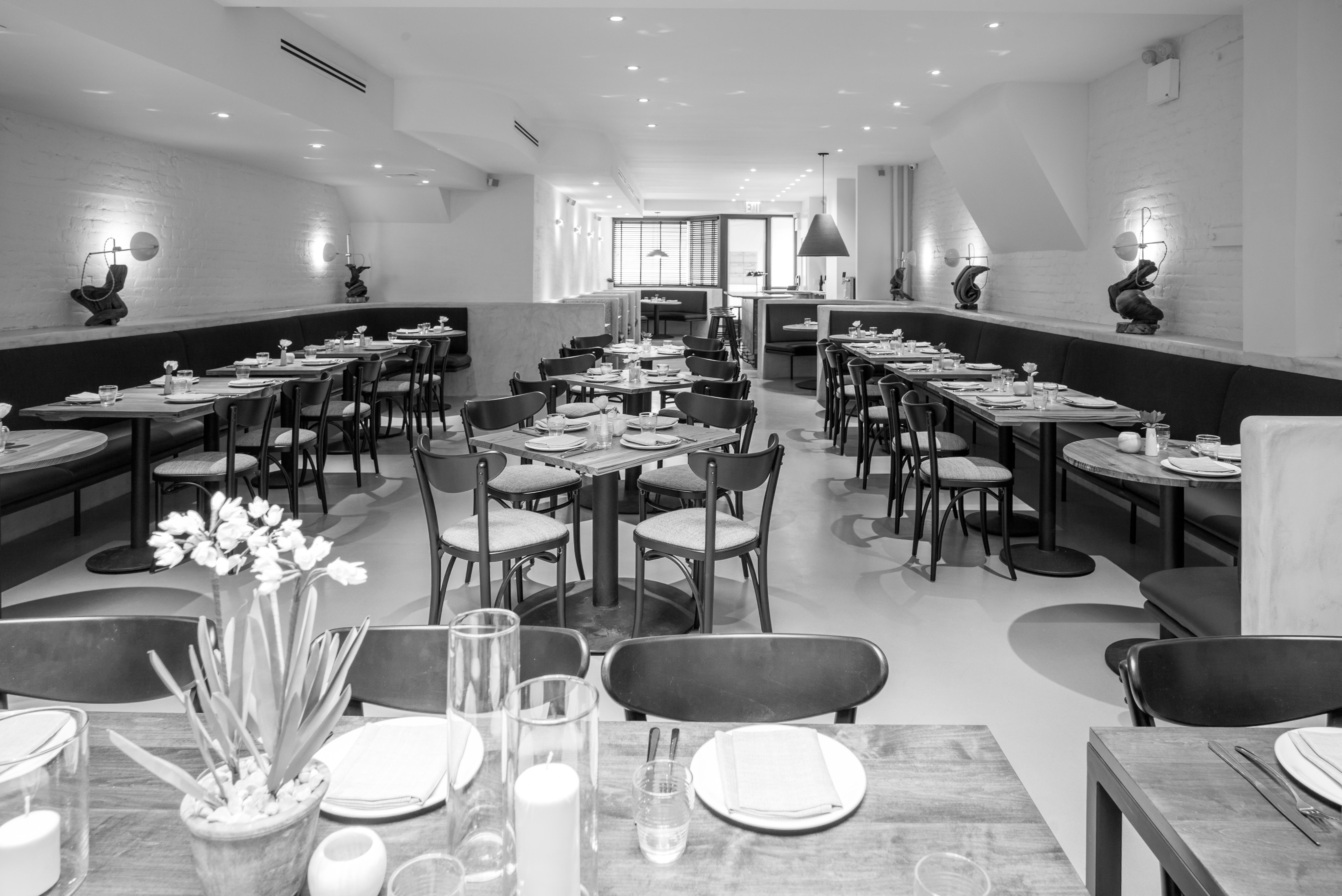 A black-and-white photo of Nix's dining room
