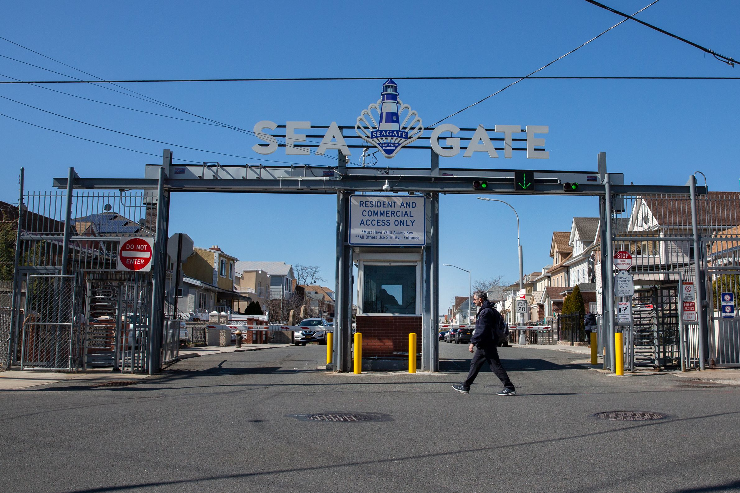 A guarded entrance to the private Sea Gate community in Coney Island.