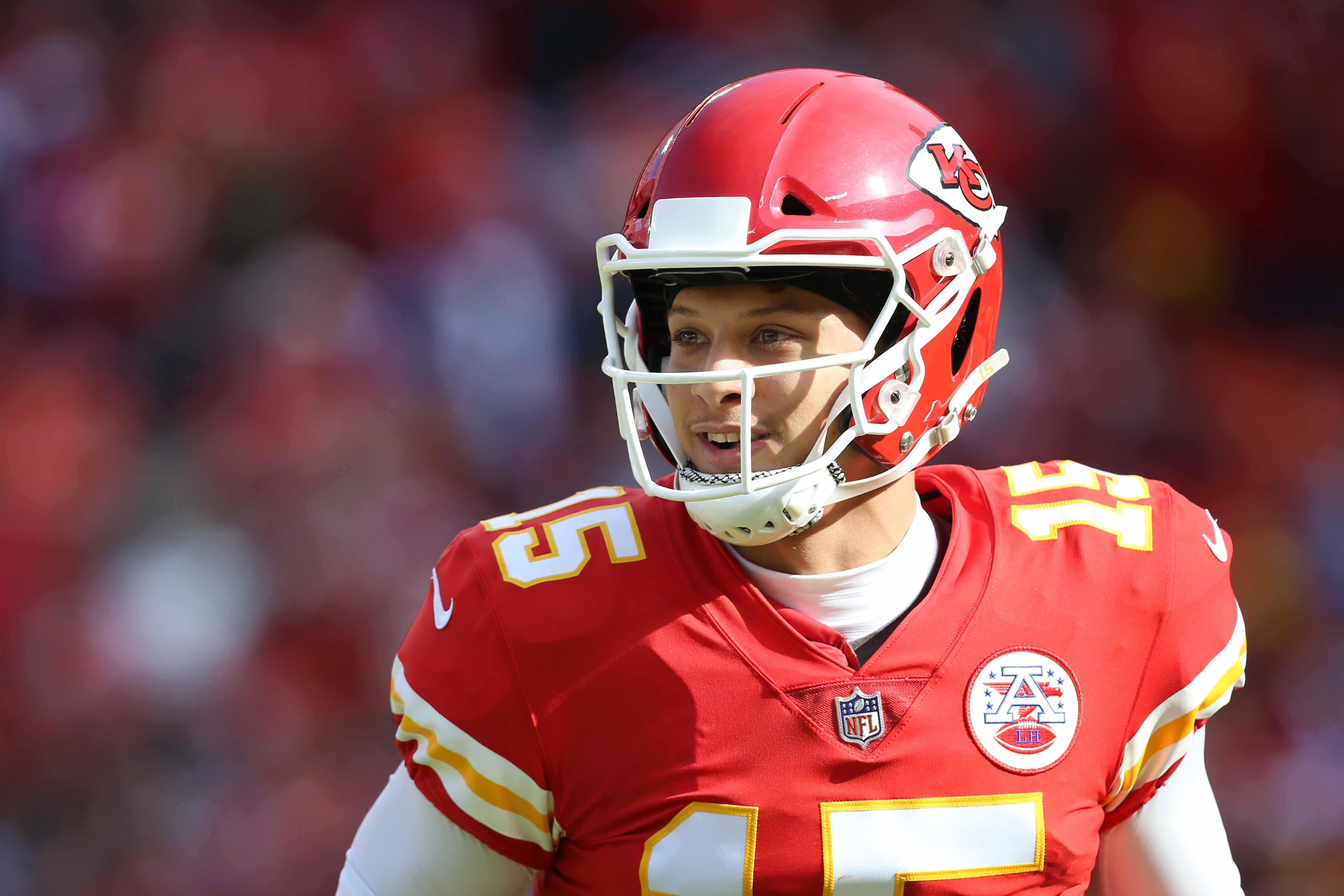 Kansas City Chiefs quarterback Patrick Mahomes after a 37-yard touchdown pass early in the first quarter of a week 10 NFL game between the Arizona Cardinals and Kansas City Chiefs on November 11, 2018 at Arrowhead Stadium in Kansas City, MO.