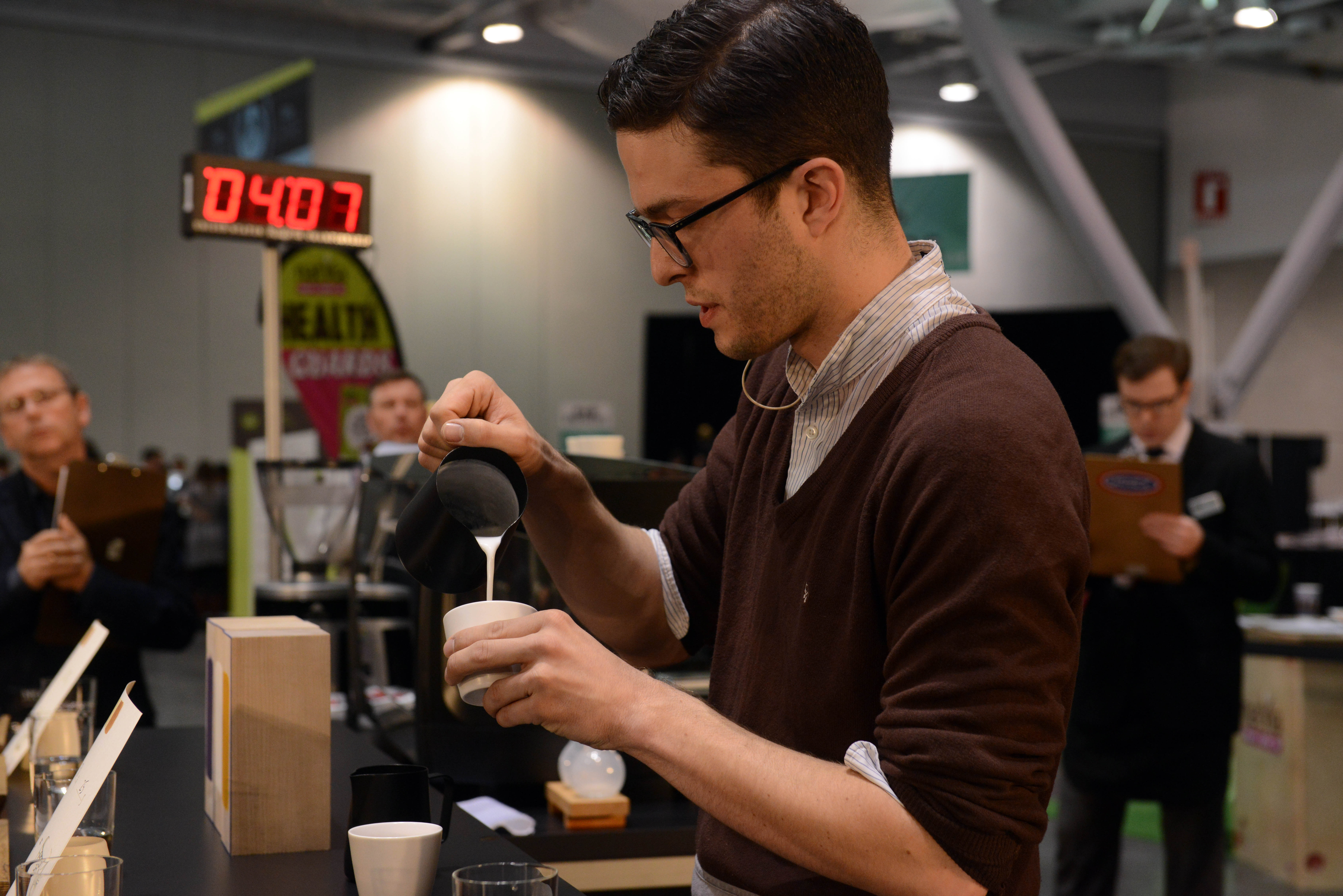 Babinski competing at a barista competition in 2013