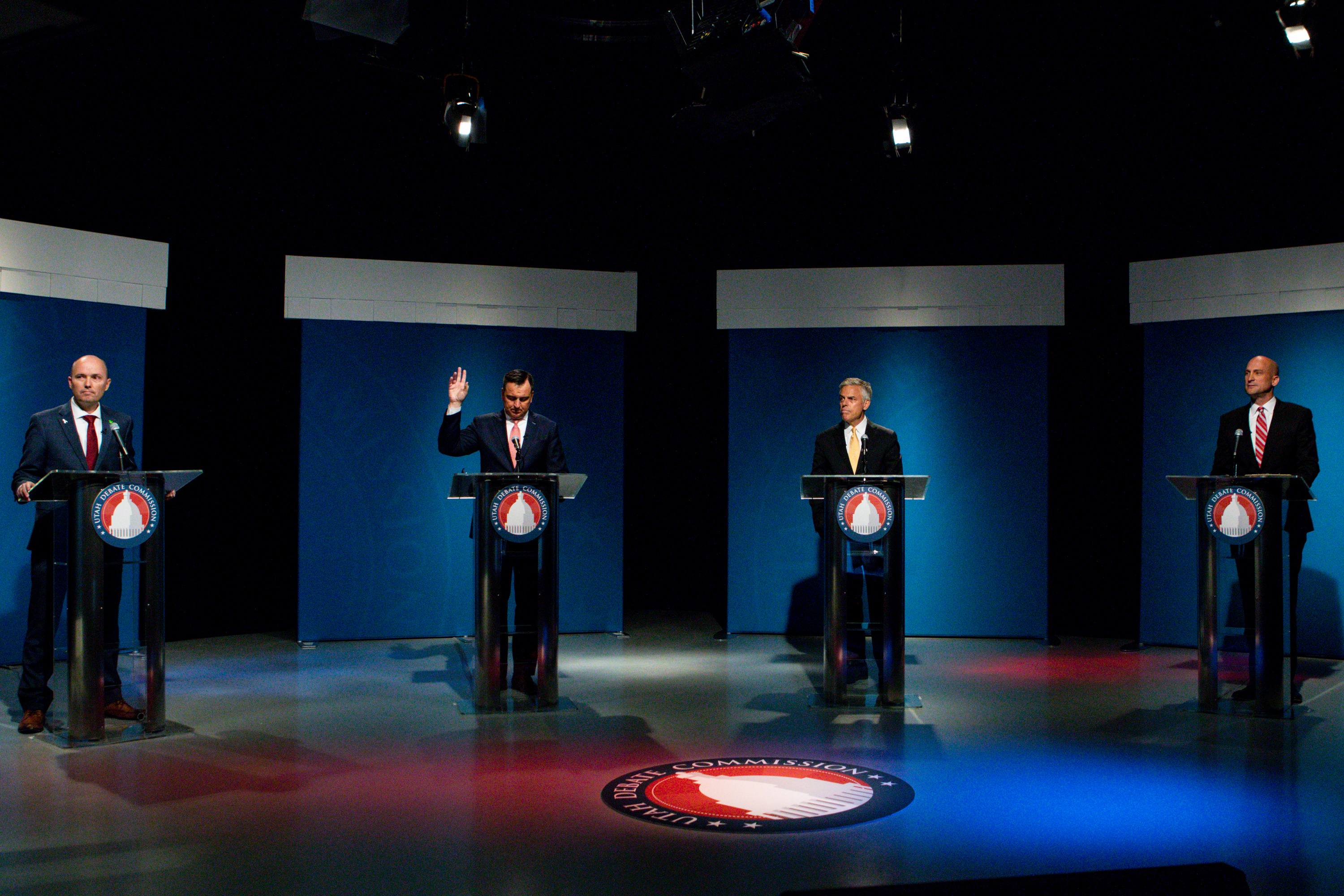 Lt. Gov. Spencer Cox, left, former Utah House Speaker Greg Hughes, former Gov. Jon Huntsman Jr. and former Utah GOP Chairman Thomas Wright participate a Utah gubernatorial Republican primary debate at the PBS Utah studio at the University of Utah in Salt Lake City on Monday, June 1, 2020.