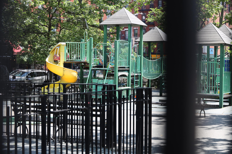An East Village park on Houston Street was closed during the coronavirus epidemic, June 9, 2020.