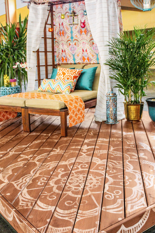 painted mandala on a deck