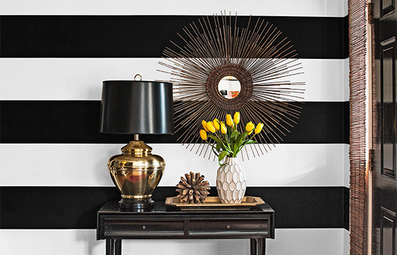 painted cabana stripes in an entryway