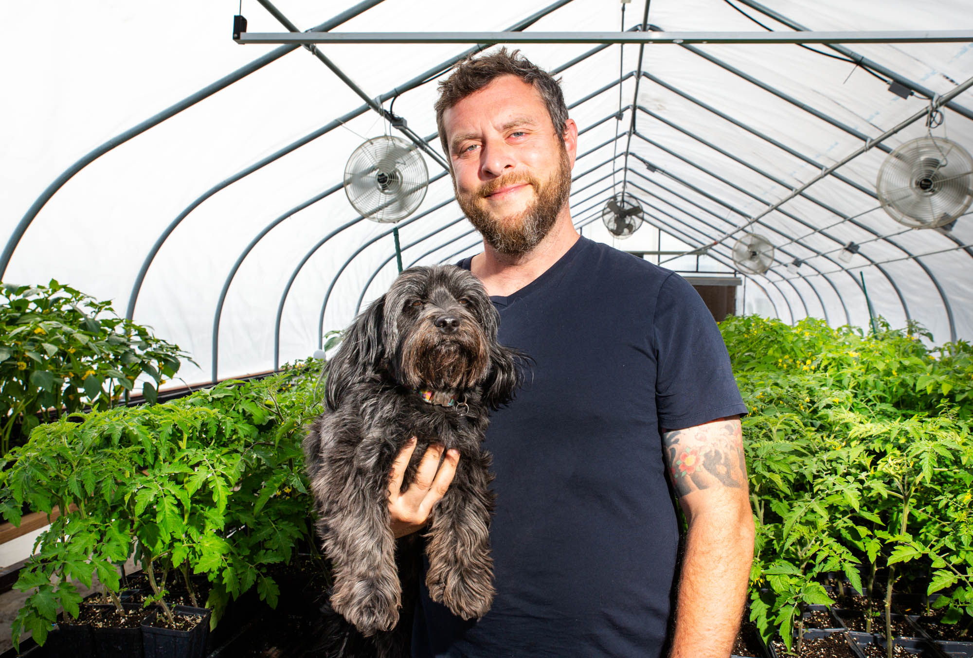 A man holds a dog in a greenhouse