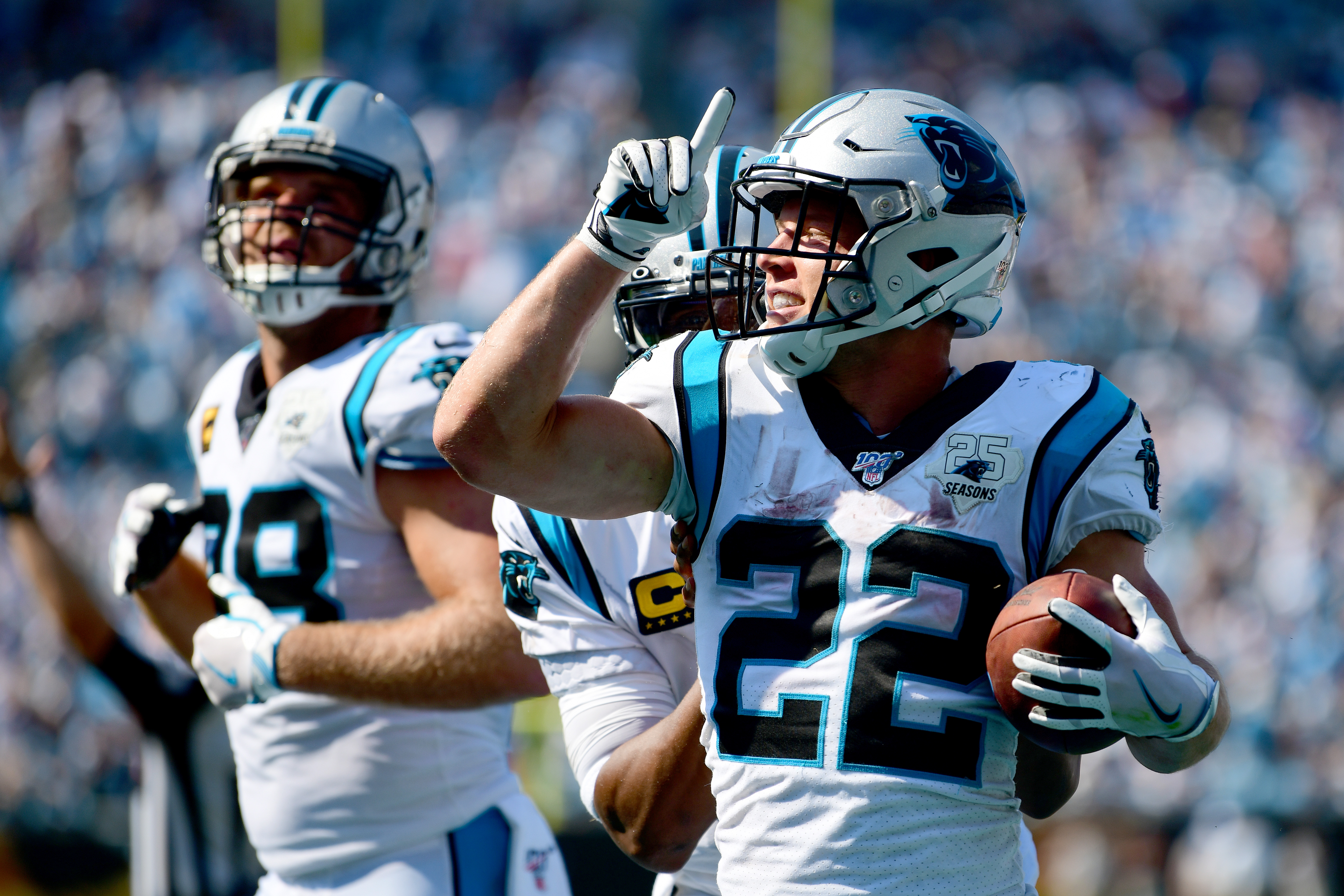 Christian McCaffrey #22 of the Carolina Panthers celebrates after a touchdown in the fourth quarter during their game against the Los Angeles Rams at Bank of America Stadium on September 08, 2019 in Charlotte, North Carolina.