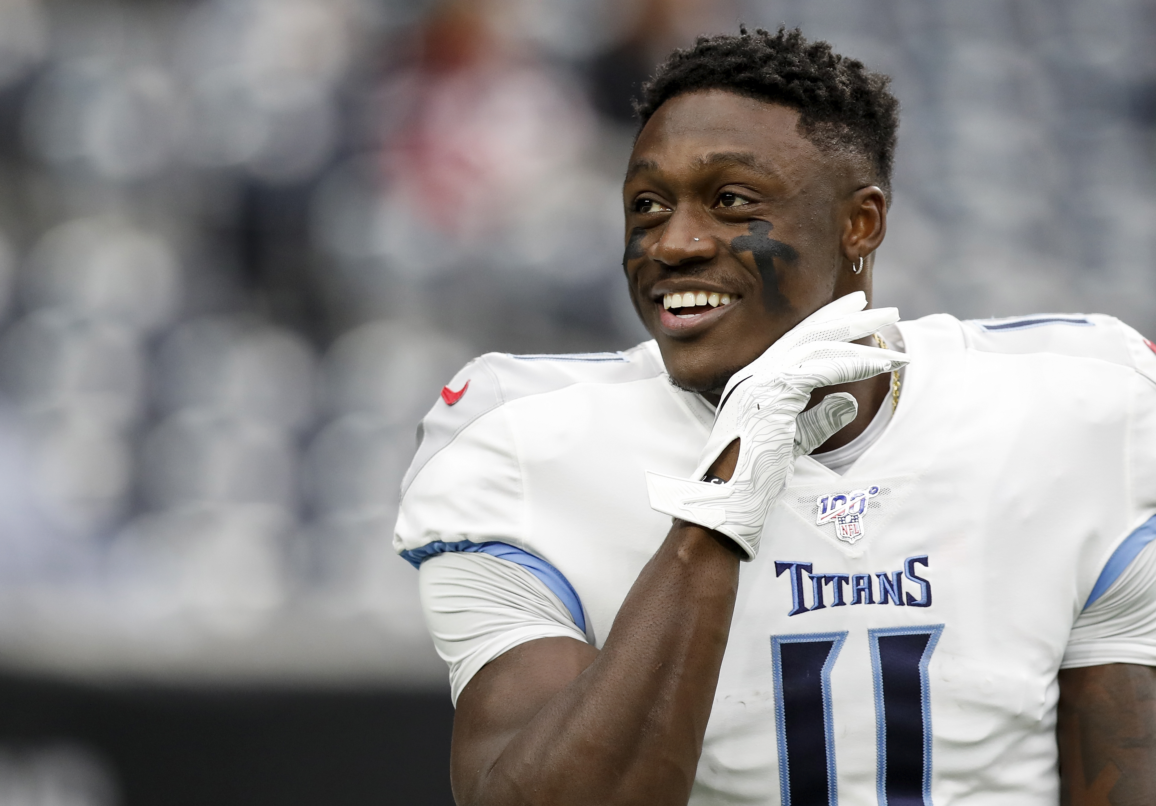 A.J. Brown #11 of the Tennessee Titans warms up before the game against the Houston Texans at NRG Stadium on December 29, 2019 in Houston, Texas.