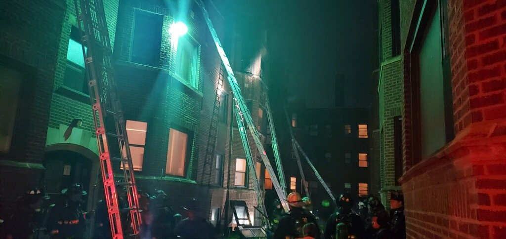 Chicago firefighters respond to an extra-alarm fire June 13, 2020, in the 6800 block of South Perry Avenue.