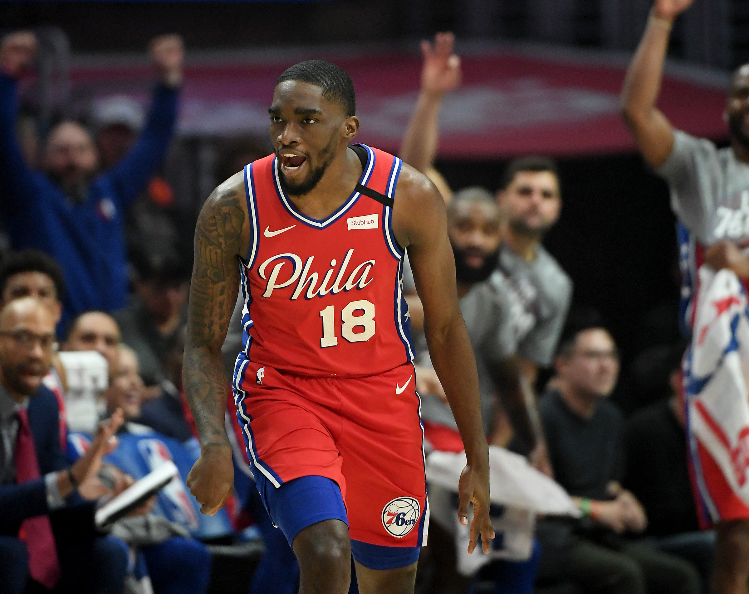Philadelphia 76ers guard Shake Milton heads down court after a three point basket in the first half of the game against the Los Angeles Clippers at Staples Center.