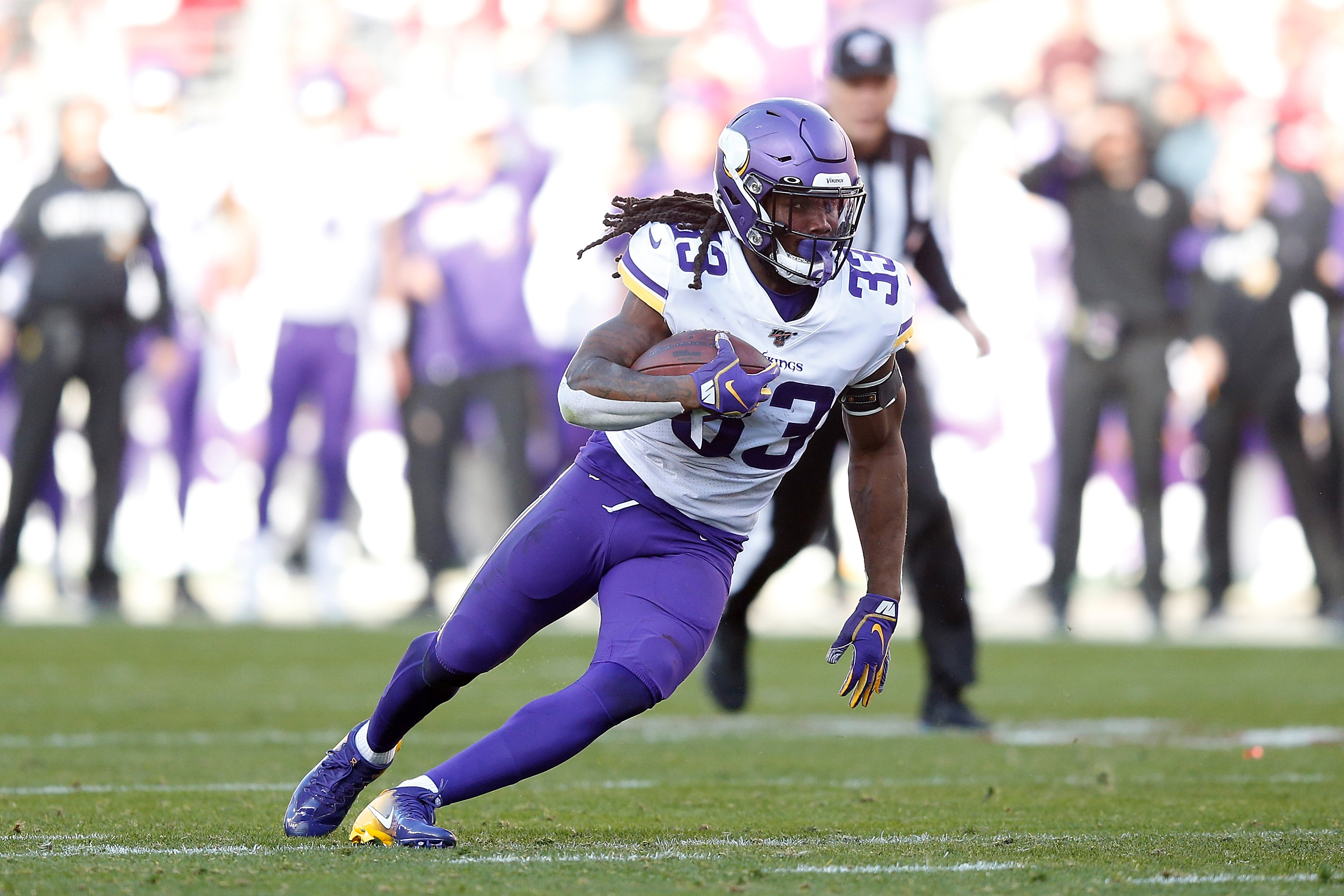 Dalvin Cook #33 of the Minnesota Vikings runs the ball in the third quarter of the NFC Divisional Round Playoff game against the San Francisco 49ers at Levi's Stadium on January 11, 2020 in Santa Clara, California.