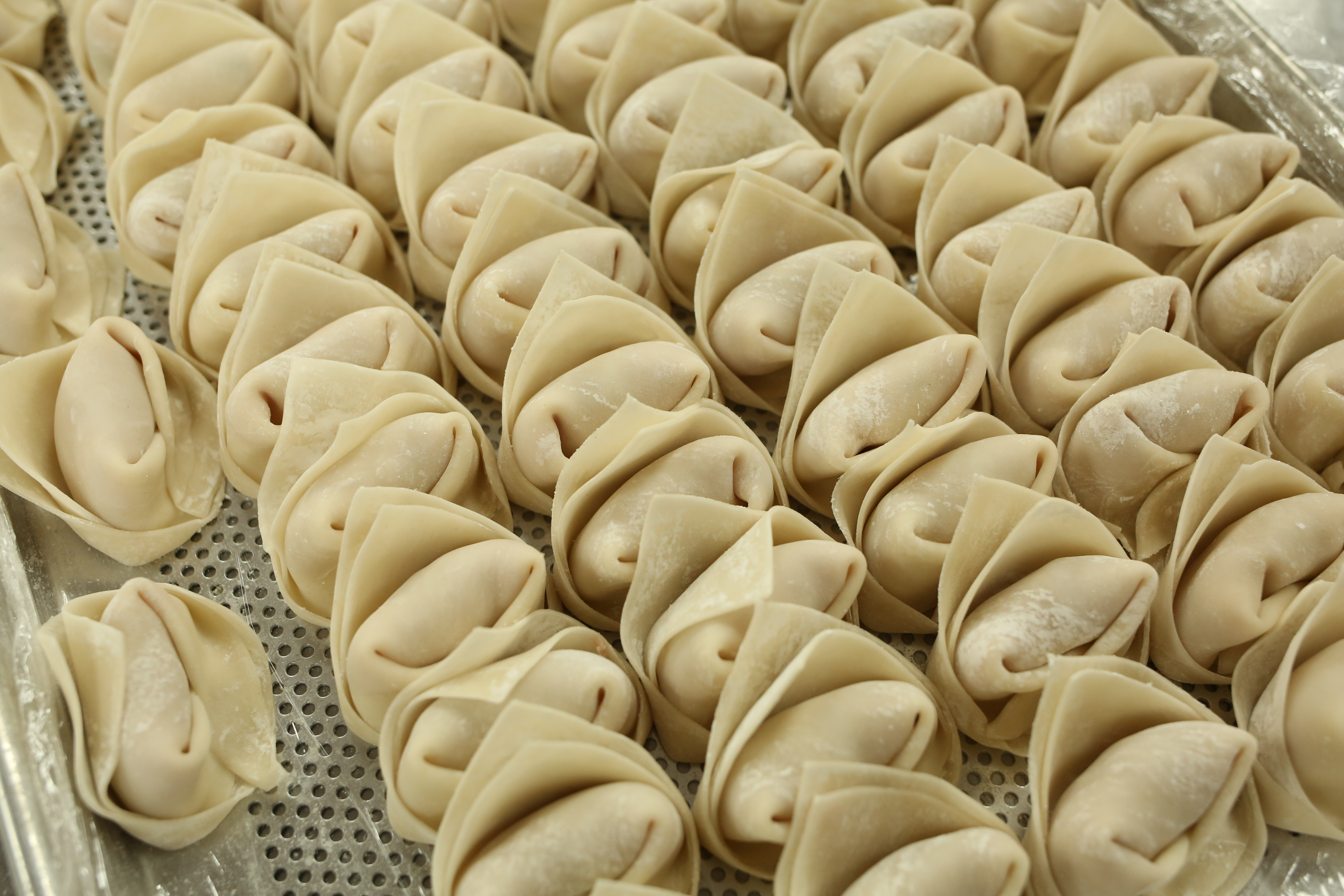 An overhead photograph of rows of uncooked dumplings folded in an envelope shape