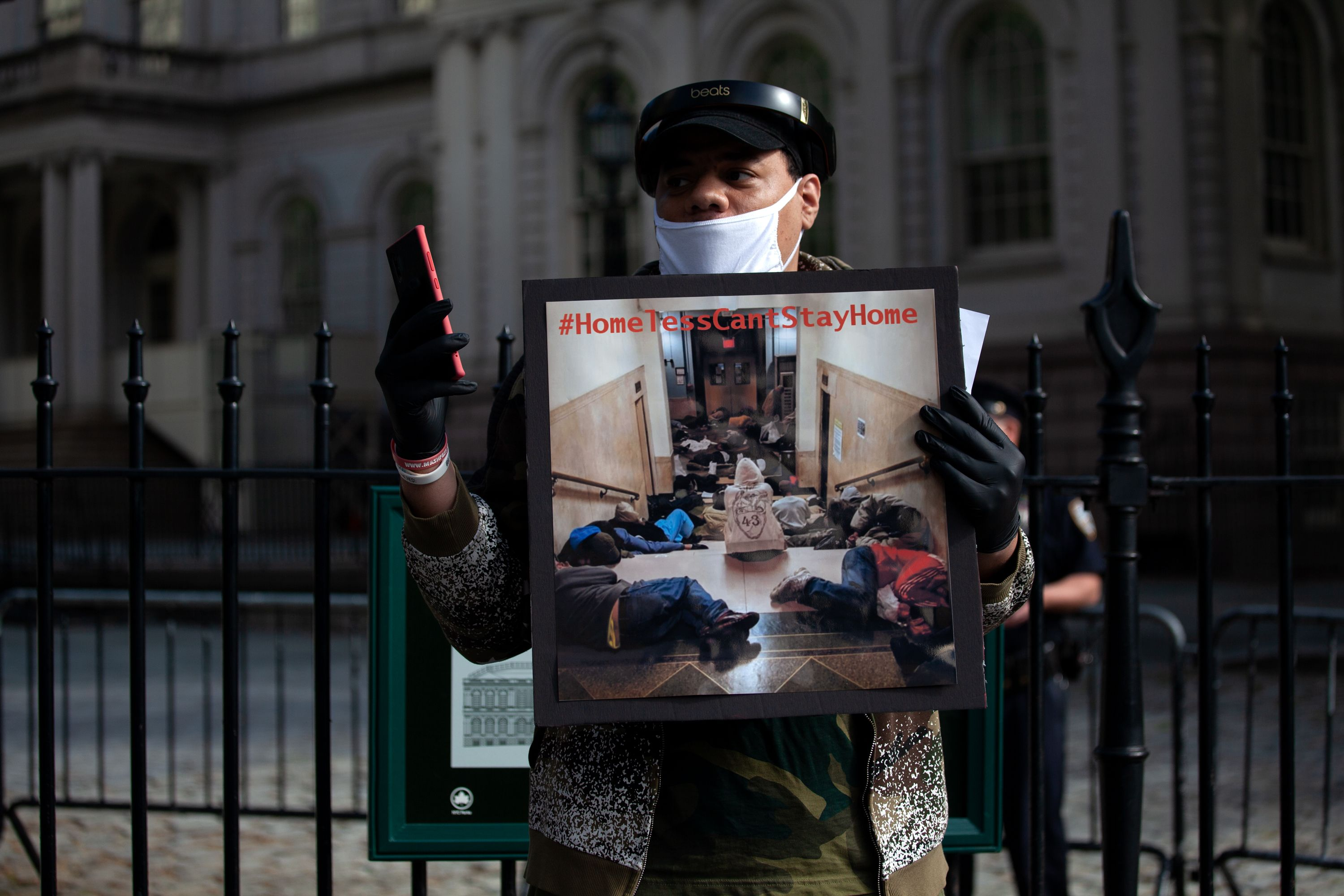 Homeless people and advocates protest at City Hall Mayor Bill de Blasio's treatment of the undomiciled during the coronavirus outbreak, May 27, 2020.