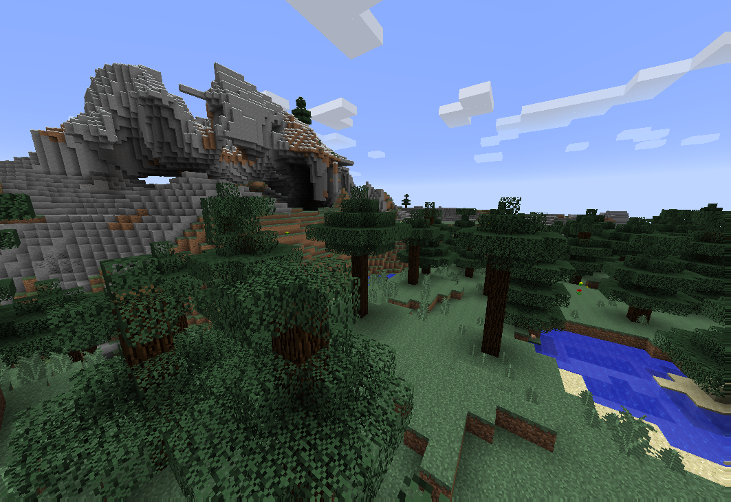 A landscape in Minecraft