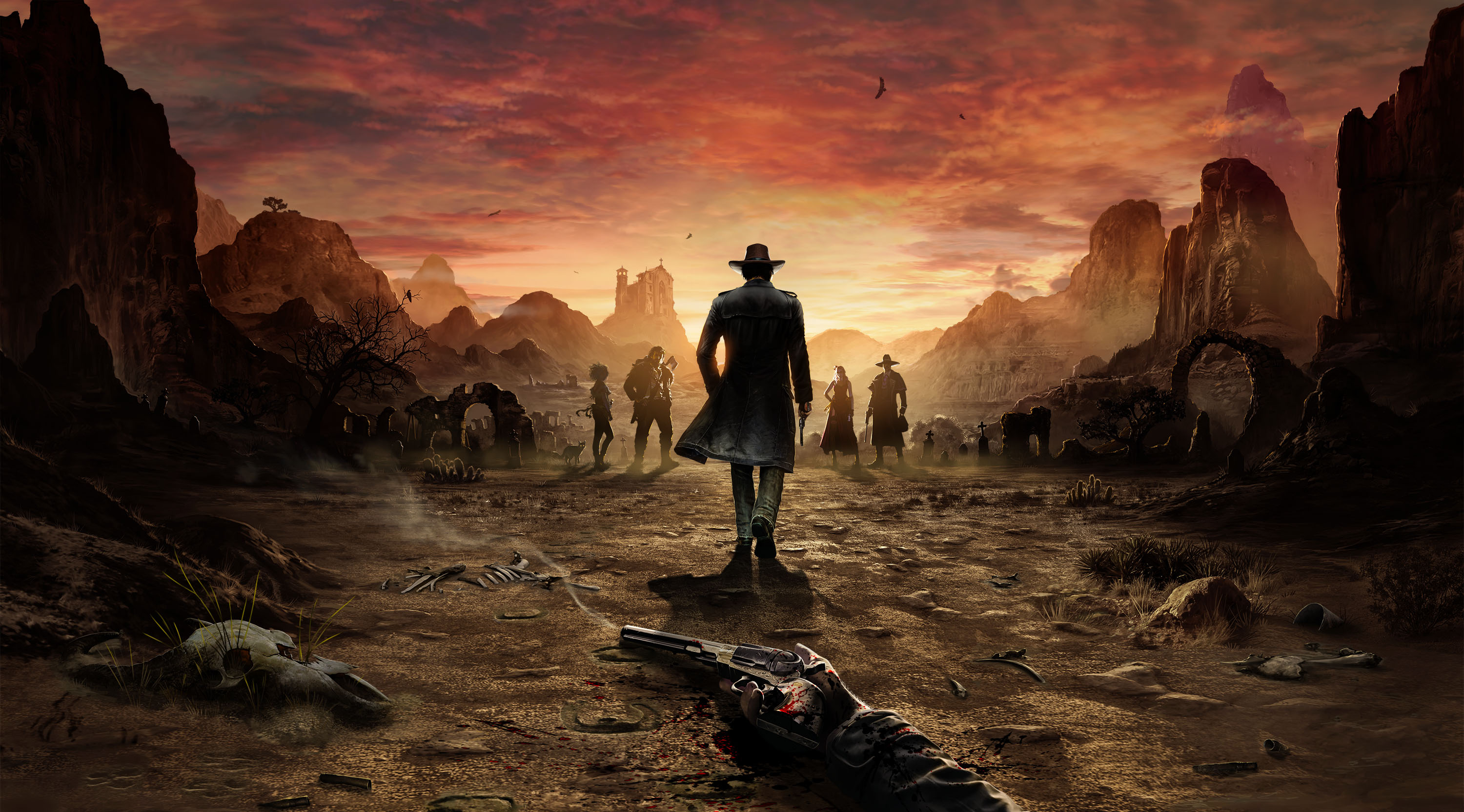 Key art for Desperados 3 shows the main character, Cooper, walking into the sunset. In the fore ground a dead man's hand holds a pistol.
